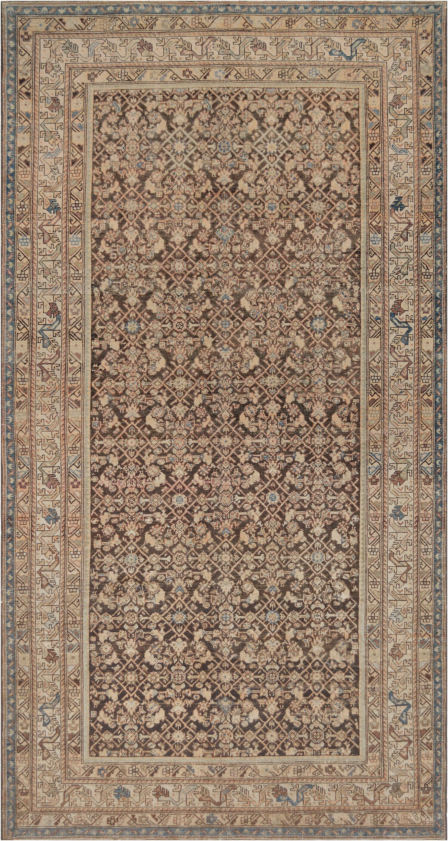 One-of-a-Kind Antique Malayer Handwoven Wool Beige Indoor Area Rug