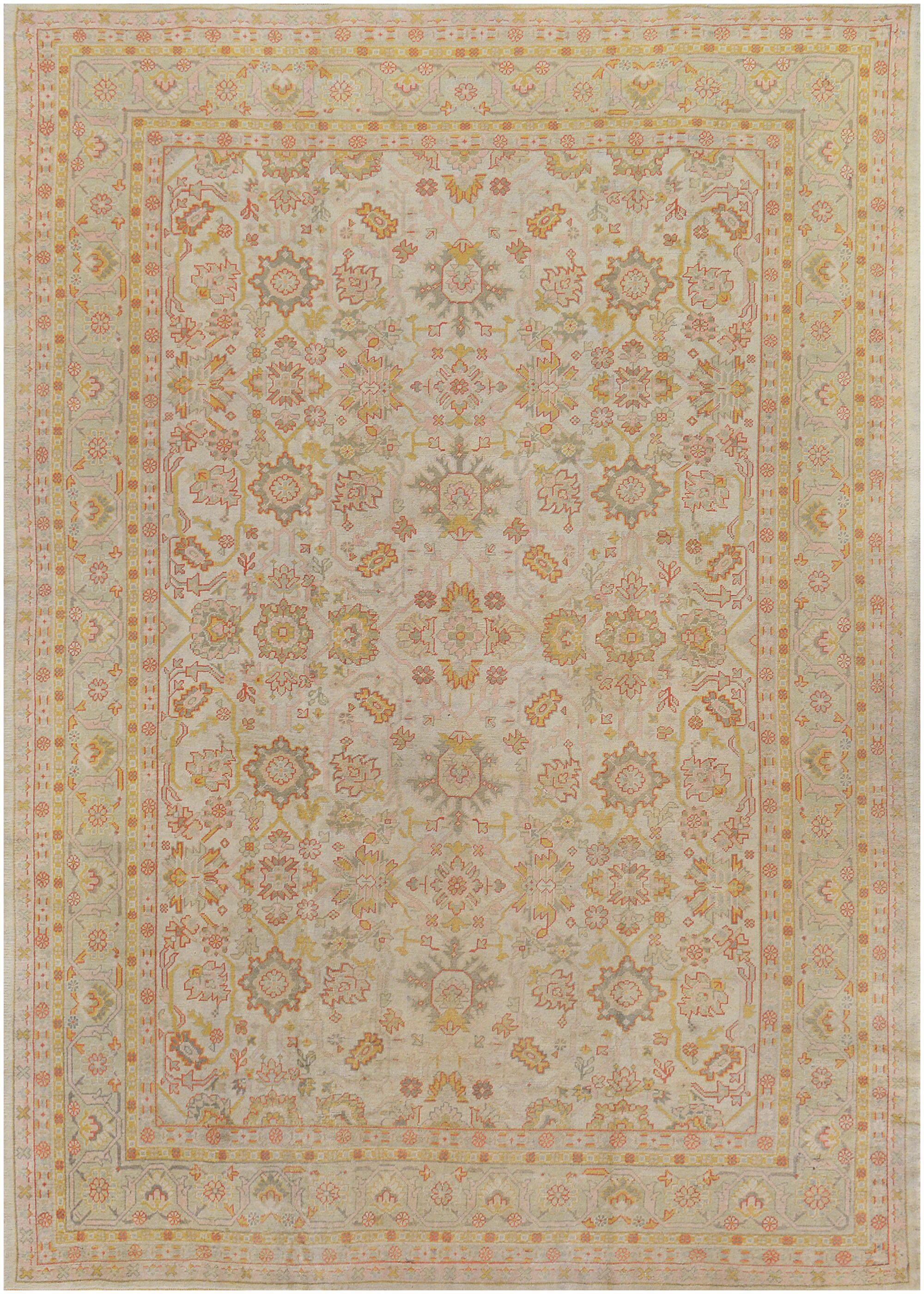 One-of-a-Kind Antique Oushak Handwoven Wool Ivory Indoor Area Rug