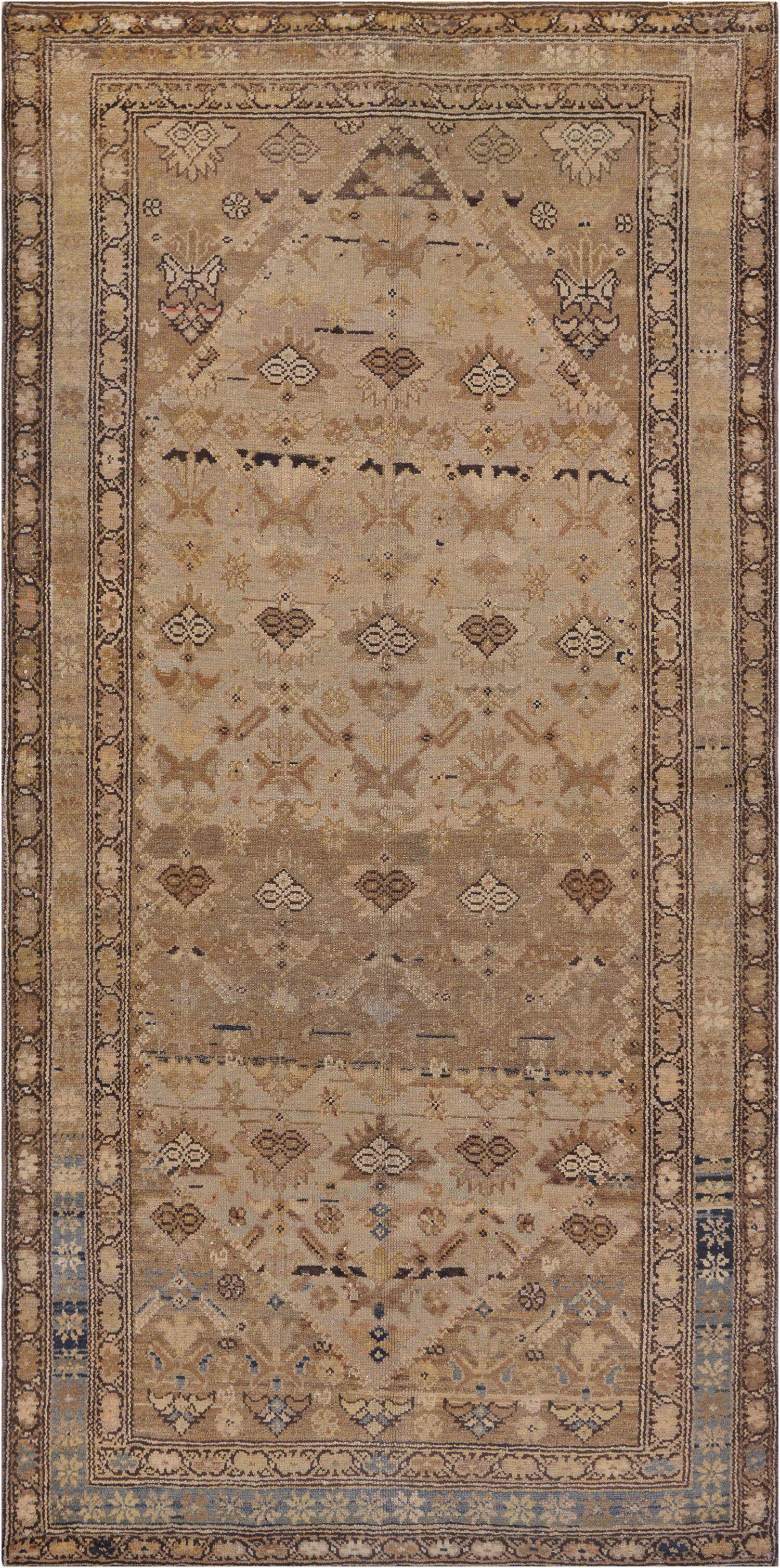 One-of-a-Kind Antique Fereghan Handwoven Wool Beige Indoor Area Rug