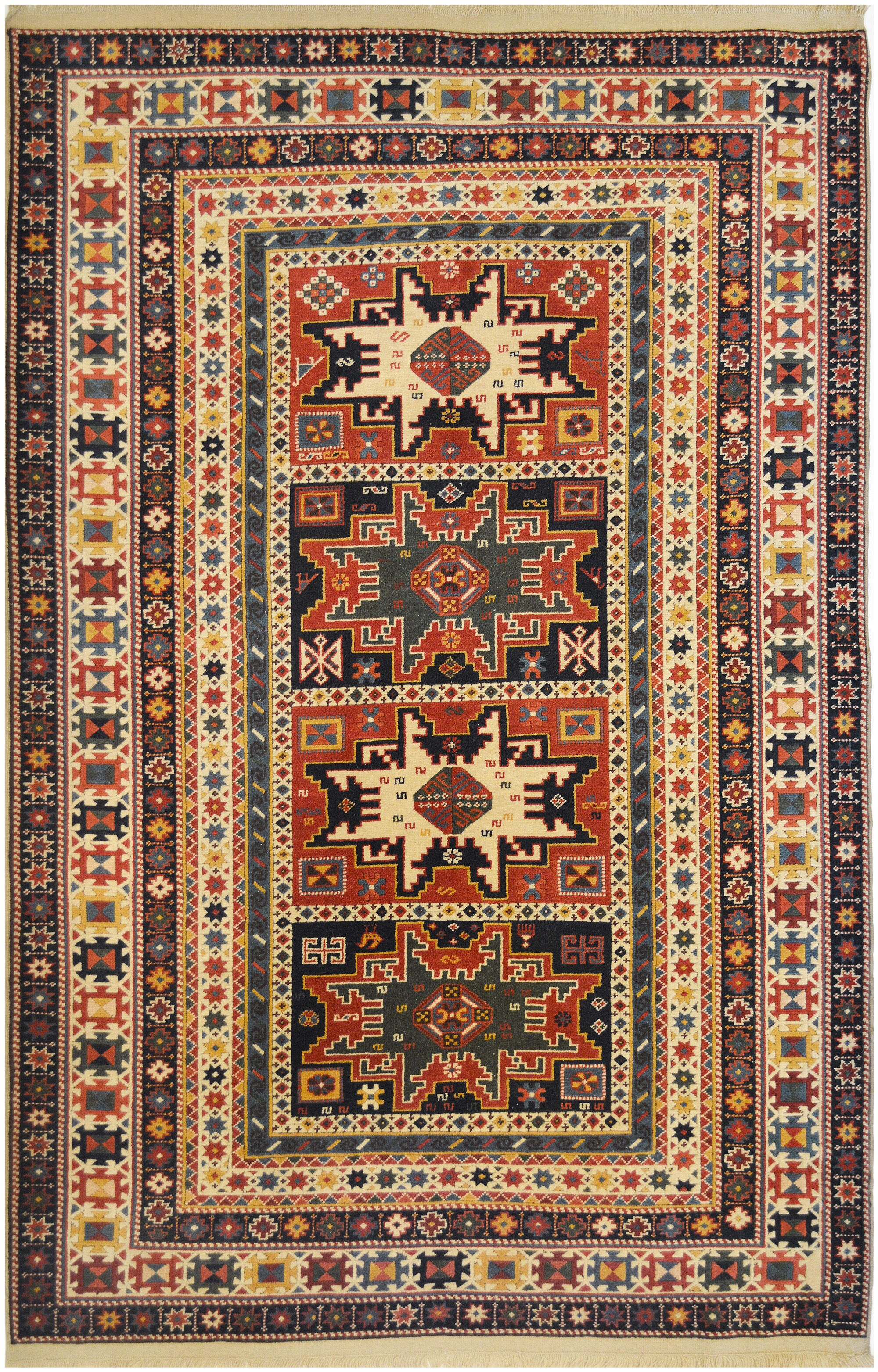 Shirvan Exceptional Russian Hand-Knotted Wool Brick Red Indoor Area Rug