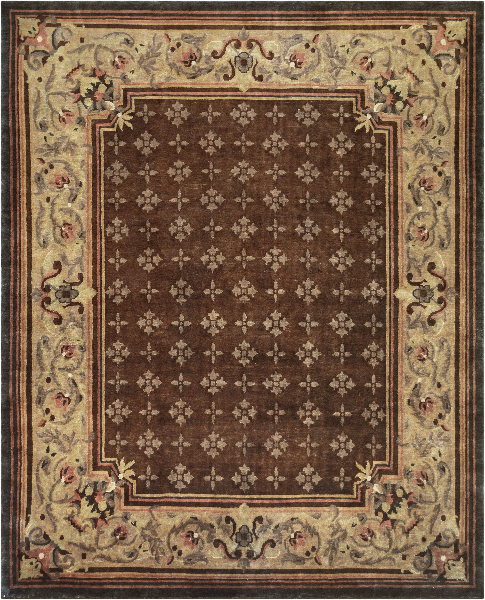 One-of-a-Kind Savonnerie Fine Hand-Knotted Wool Brown Indoor Area Rug