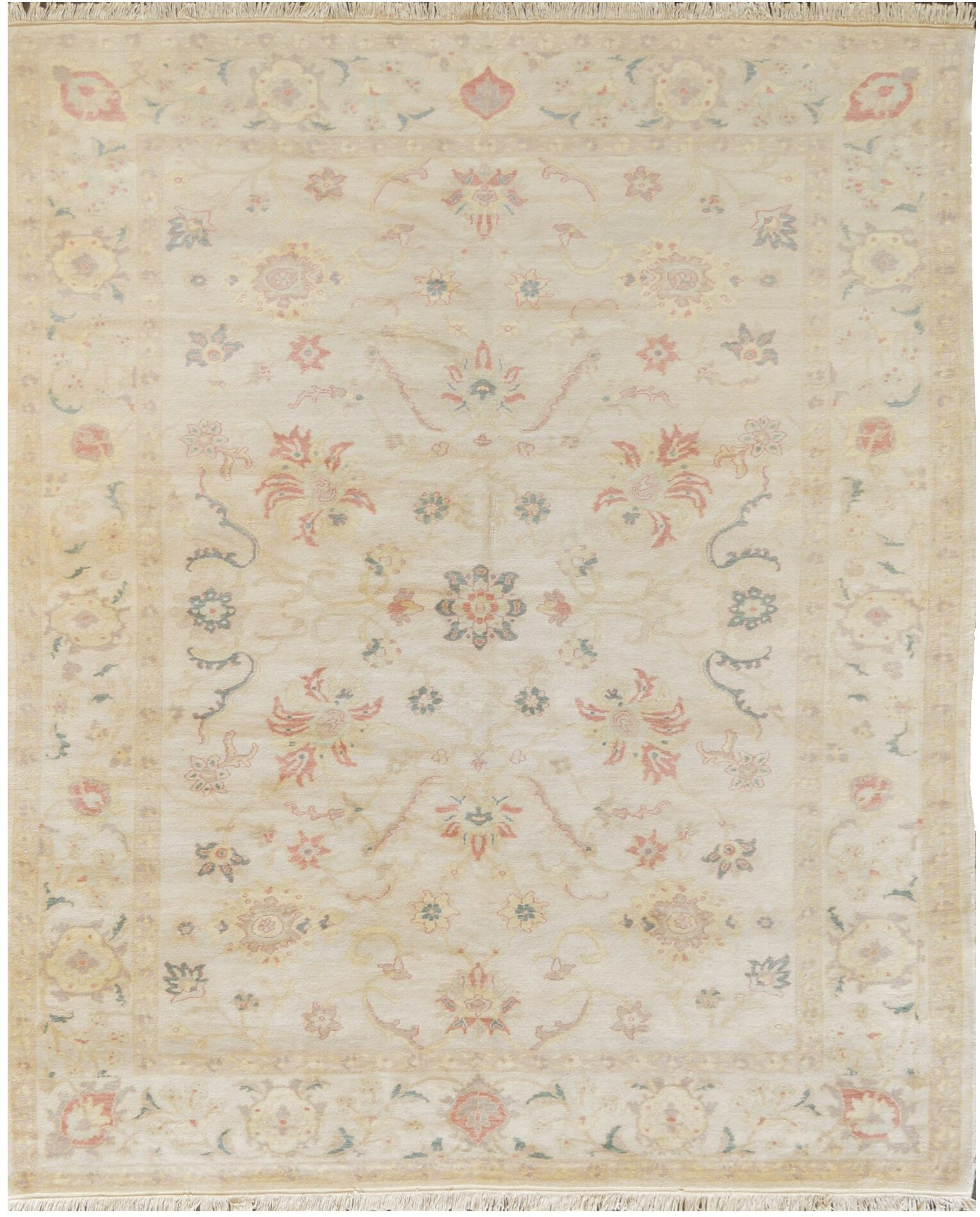 One-of-a-Kind Agra High Quality Hand-Knotted Wool Ivory Indoor Area Rug