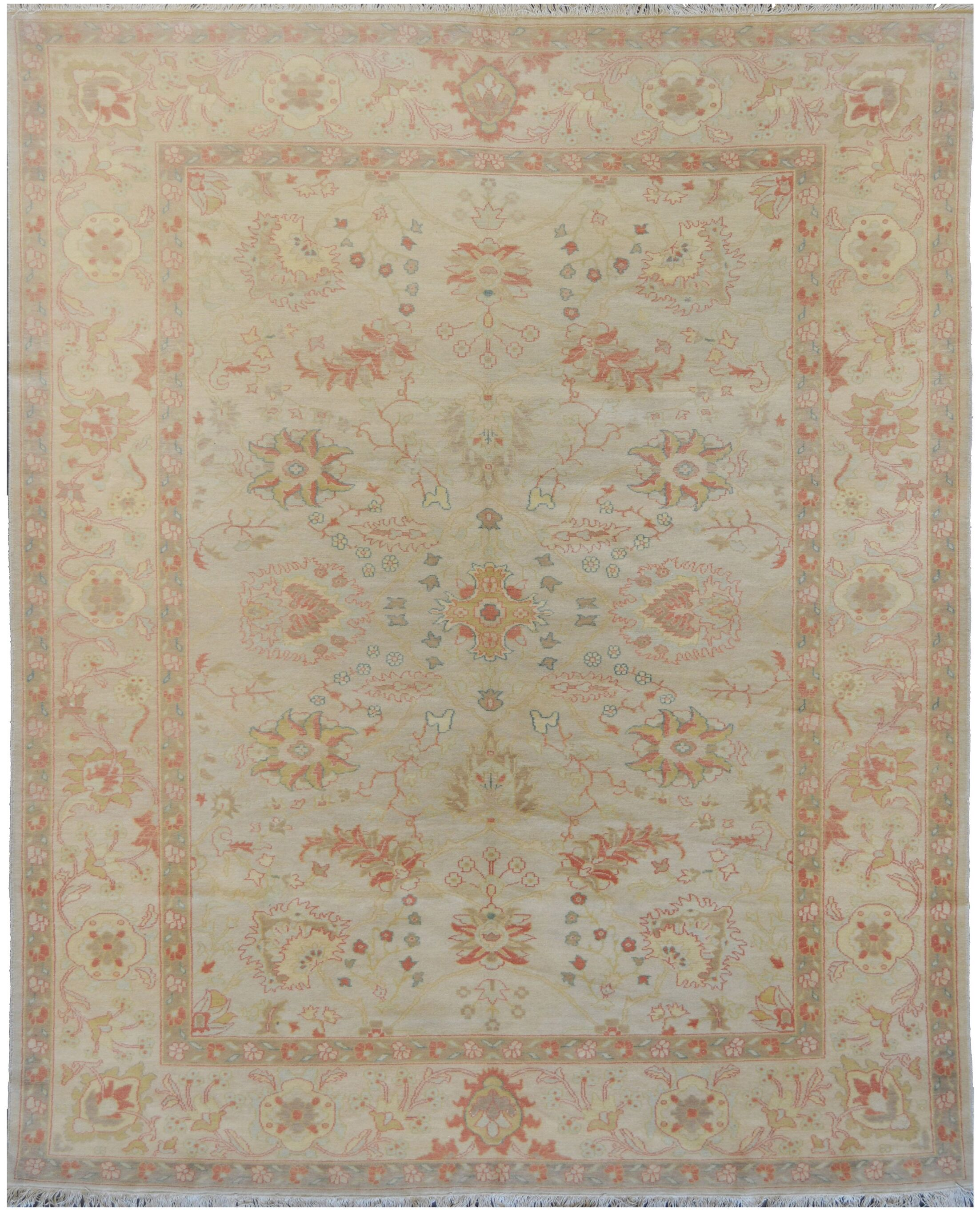 Agra Fine Hand-Knotted Wool Beige Indoor Area Rug