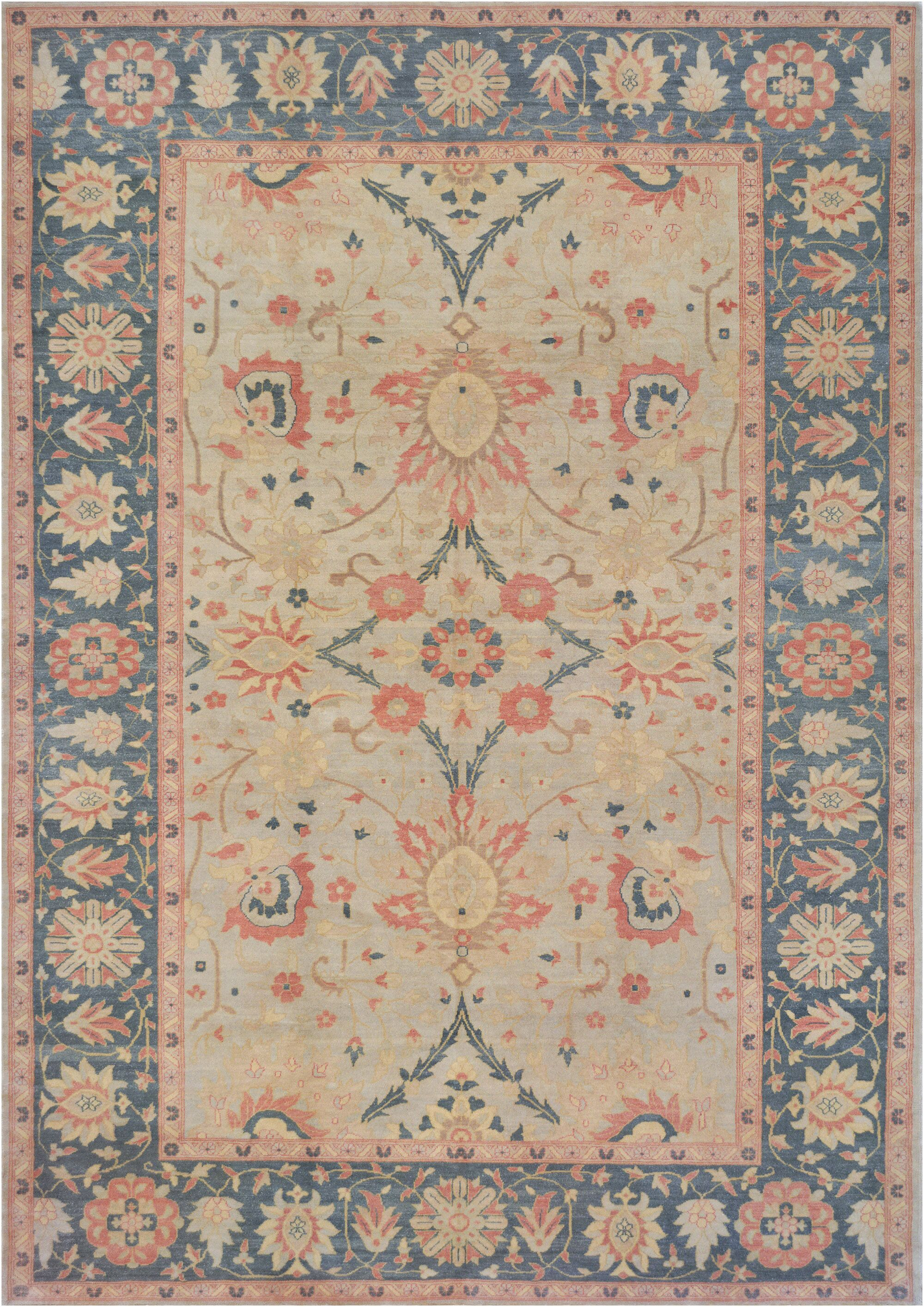 One-of-a-Kind Agra Hand-Knotted Wool Beige Indoor Area Rug