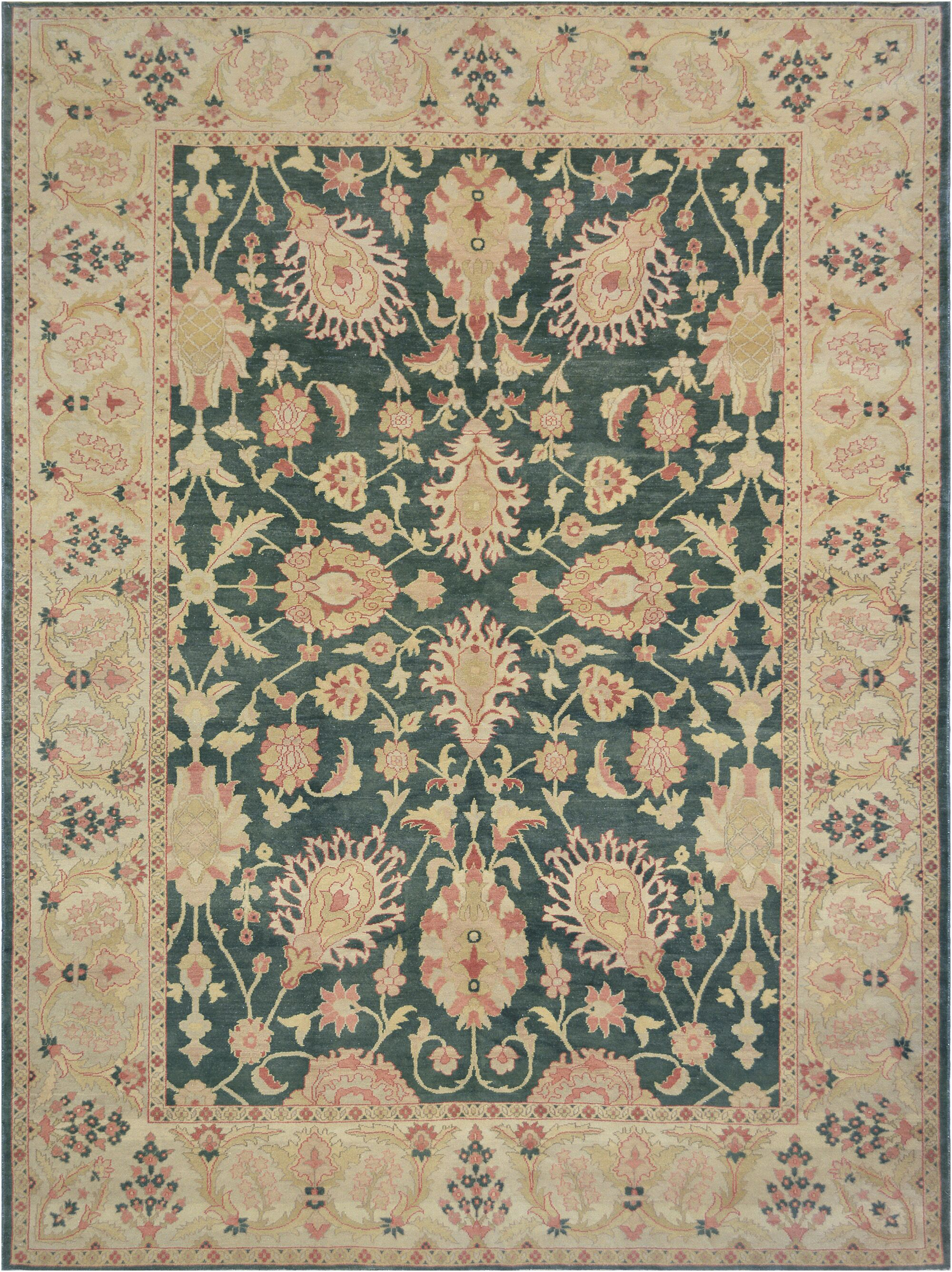 One-of-a-Kind Agra Geunine Hand-Knotted Wool Green/Beige Indoor Area Rug