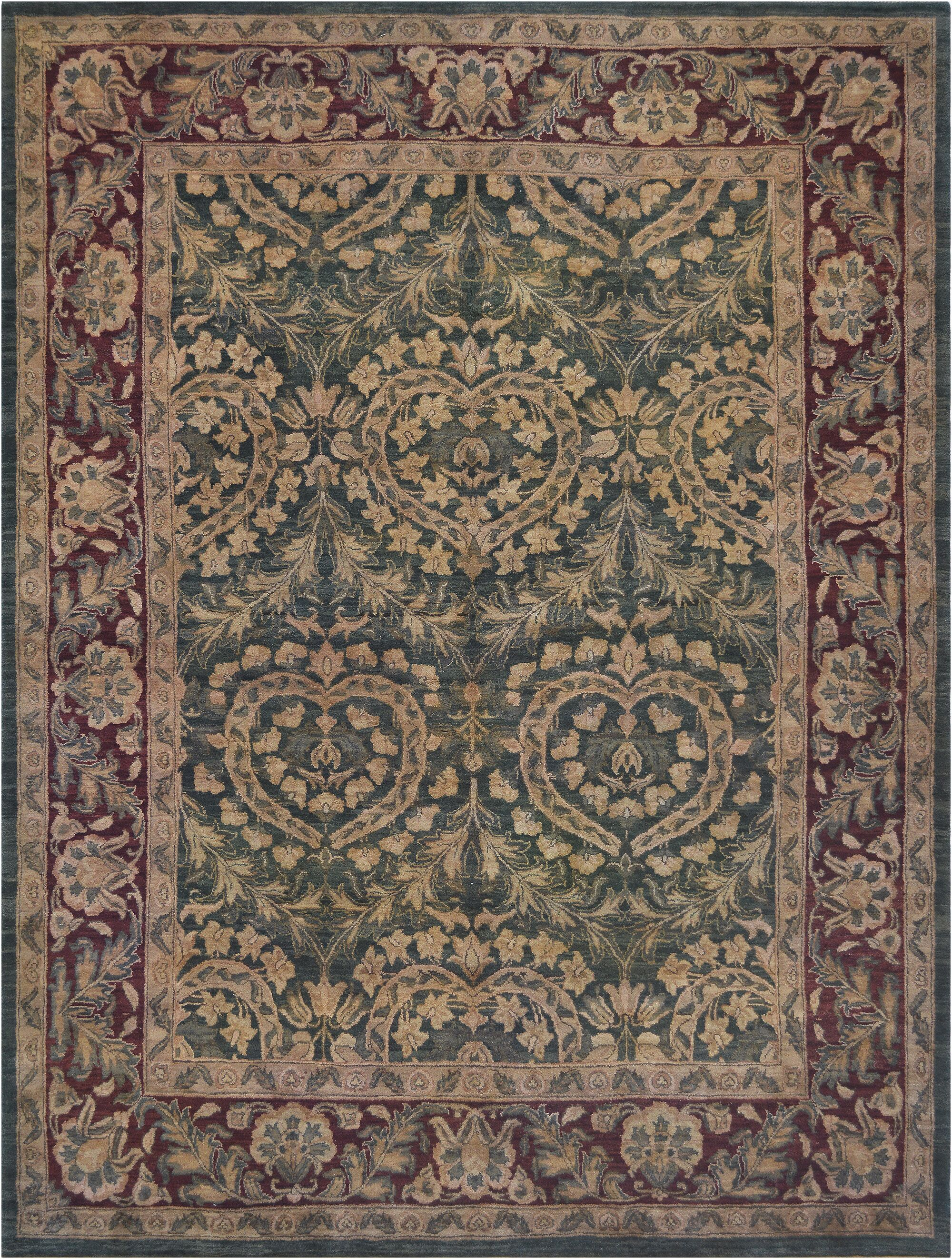 One-of-a-Kind Tabriz Quality Hand-Knotted Wool Beige/Green Indoor Area Rug