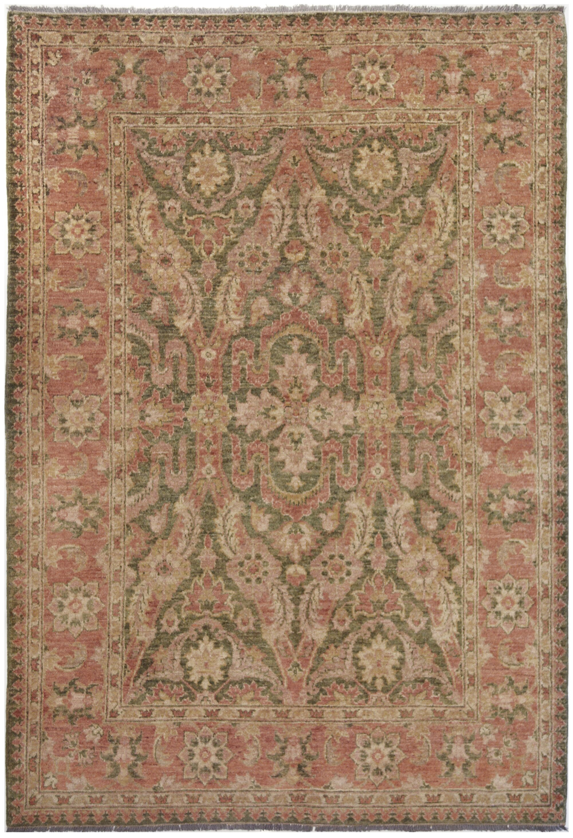 Agra Exquisite Hand-Knotted Wool Pink Indoor Area Rug