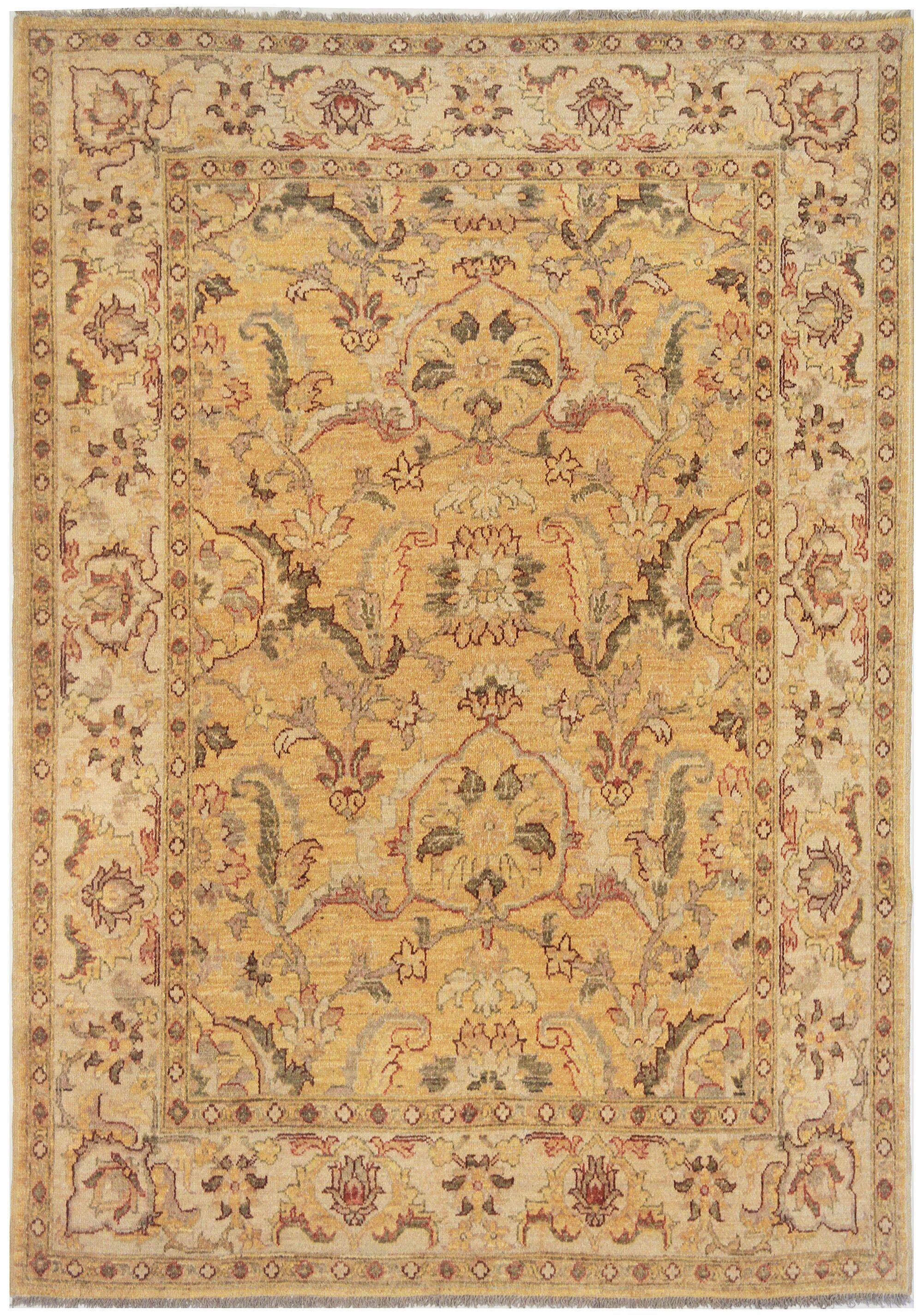 Agra Exquisite Hand-Knotted Wool Beige Indoor Area Rug