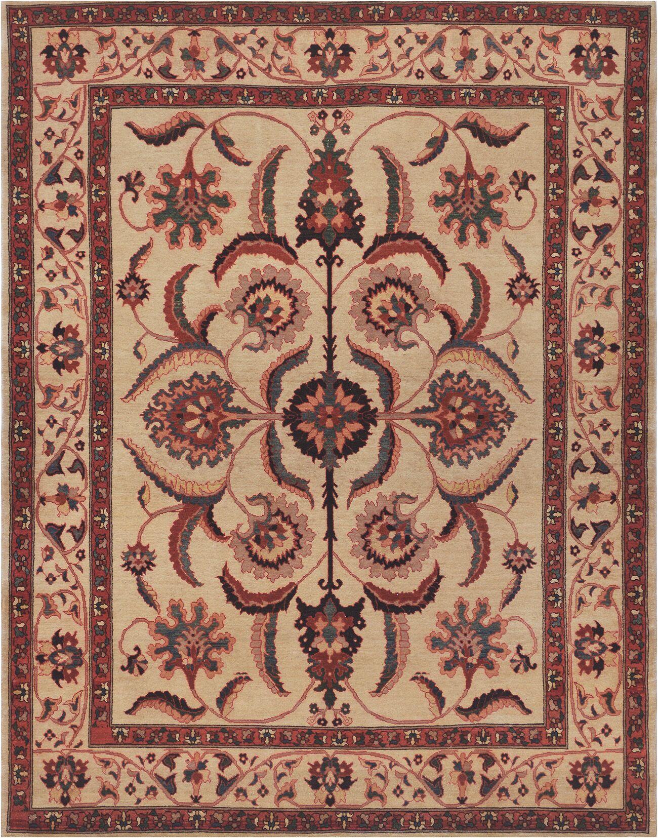 Exquisite Farahan Hand-Knotted Wool Beige Indoor Area Rug