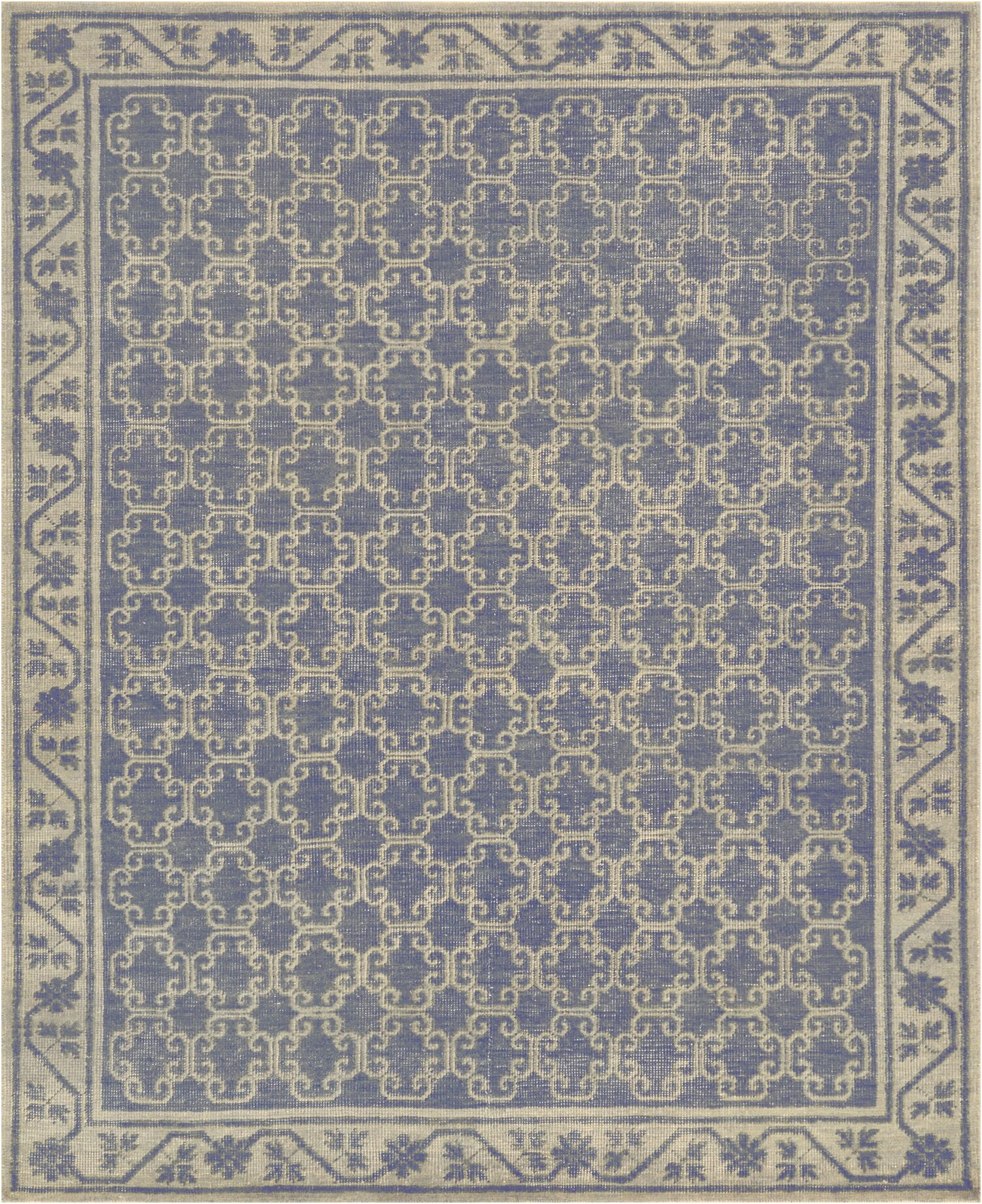 One-of-a-Kind Khotan Fine Hand-Knotted Wool Blue Indoor Area Rug
