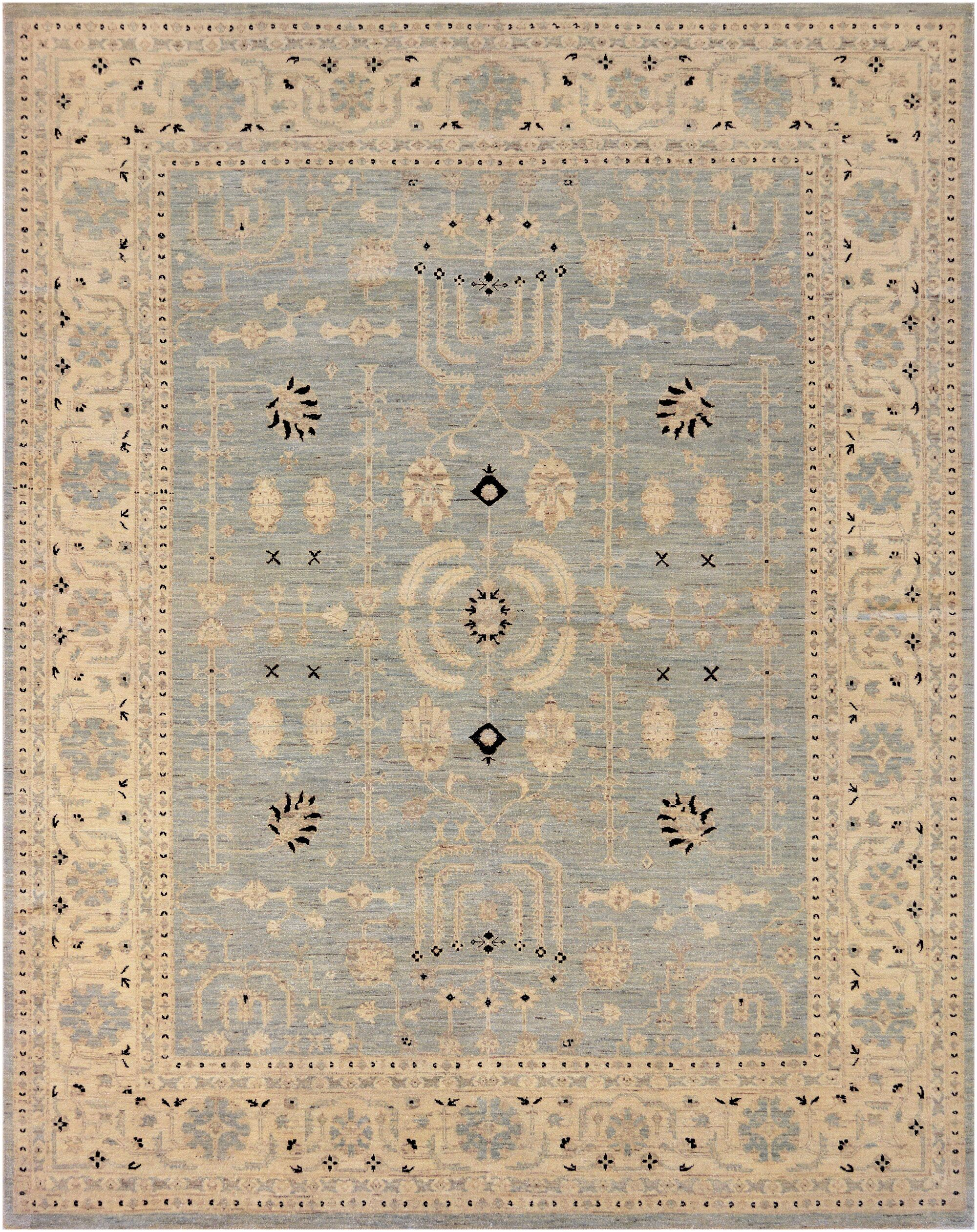 One-of-a-Kind Fine Handwoven Wool Blue Indoor Area Rug
