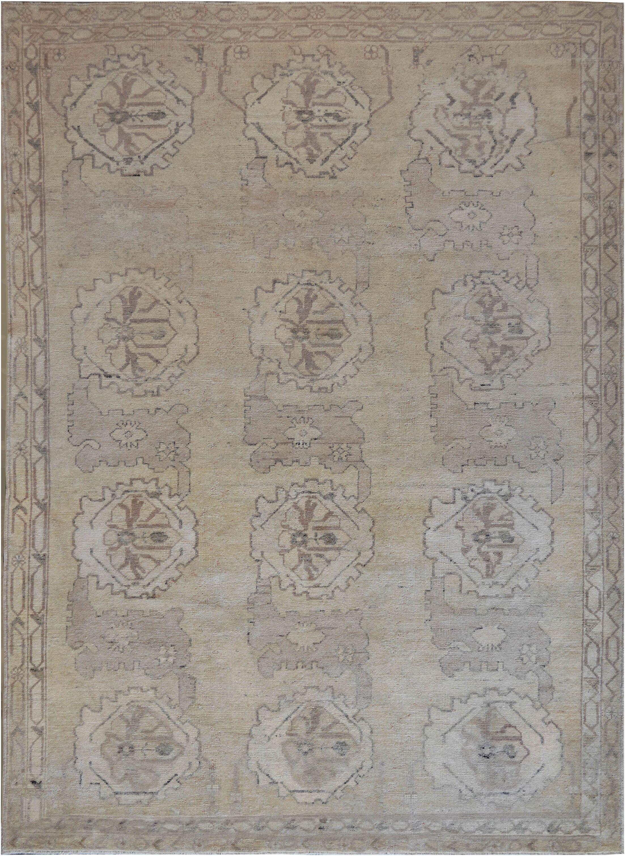 One-of-a-Kind Oushak Handwoven Wool Beige Indoor Area Rug