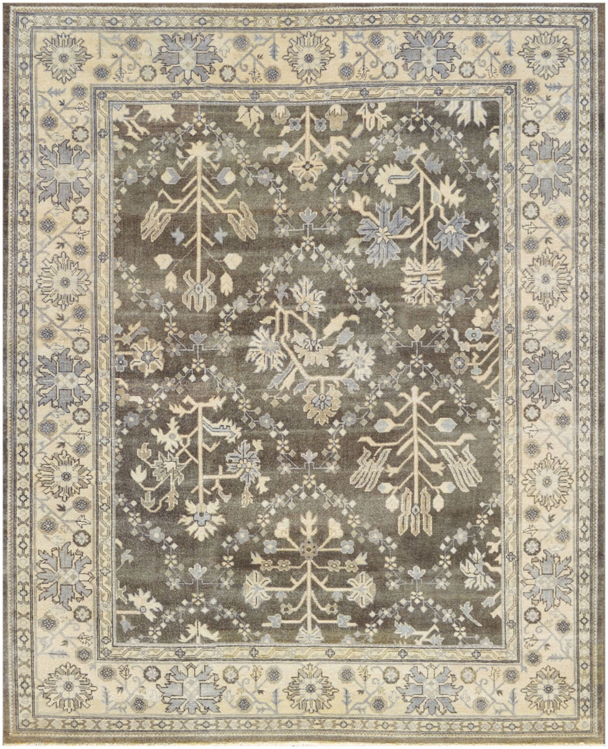 One-of-a-Kind Genuine Handwoven Wool Brown Indoor Area Rug