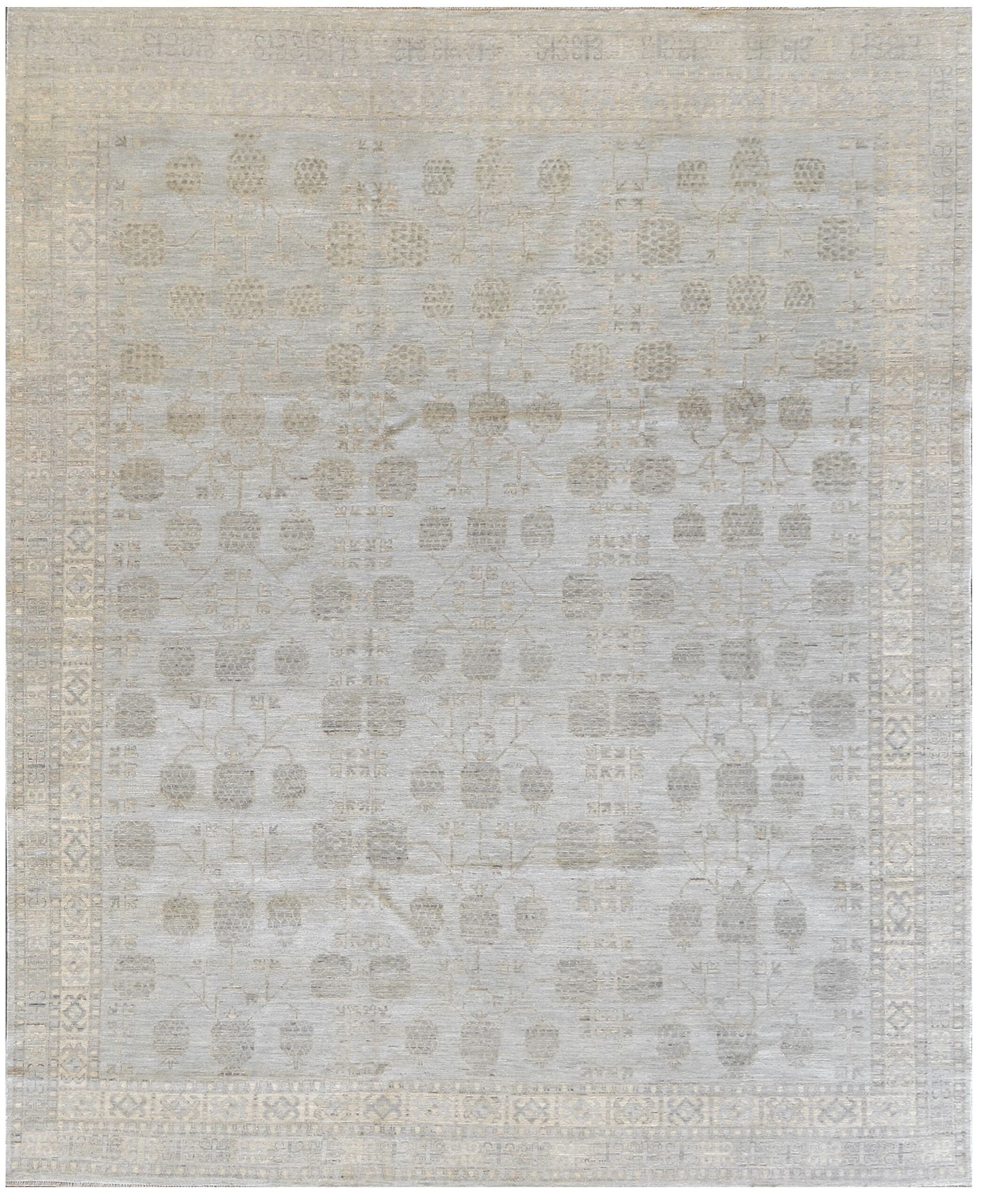 One-of-a-Kind Superb Quality Handwoven Wool Gray Indoor Area Rug