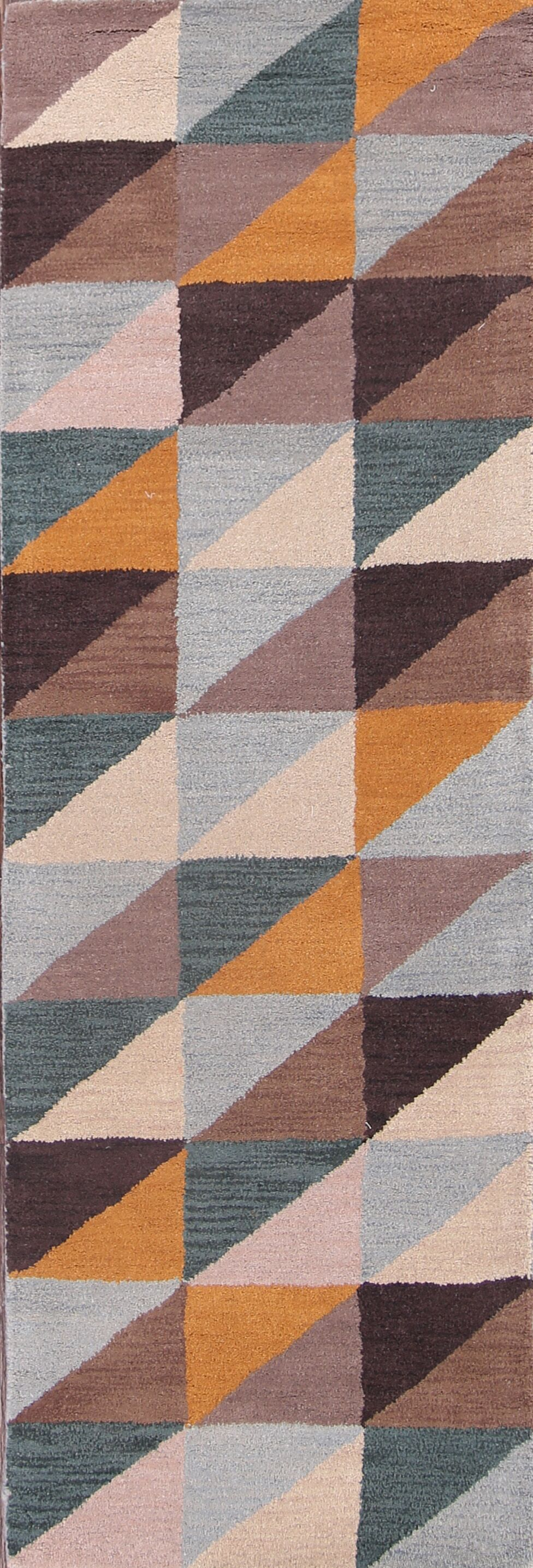 Camila Gabbeh Traditional Oriental Hand-Tufted Wool Brown/Blue/Yellow Area Rug