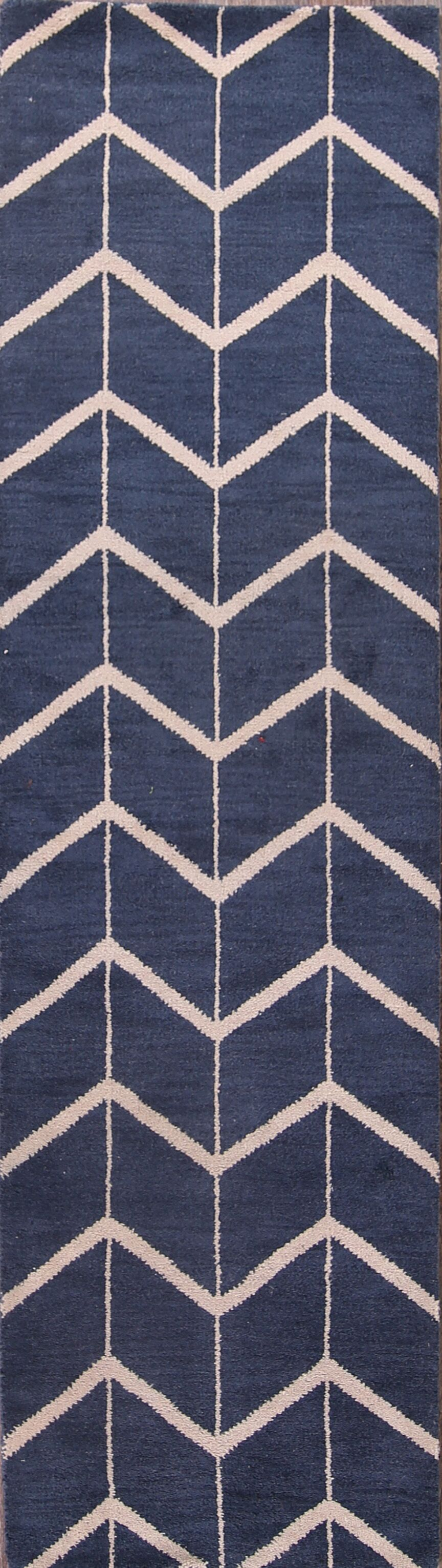 One-of-a-Kind Xanthe Traditional Modern Moroccan Trellis Hudson Oriental Hand-Knotted Wool Beige/Blue Area Rug Rug Size: Runner 2'6