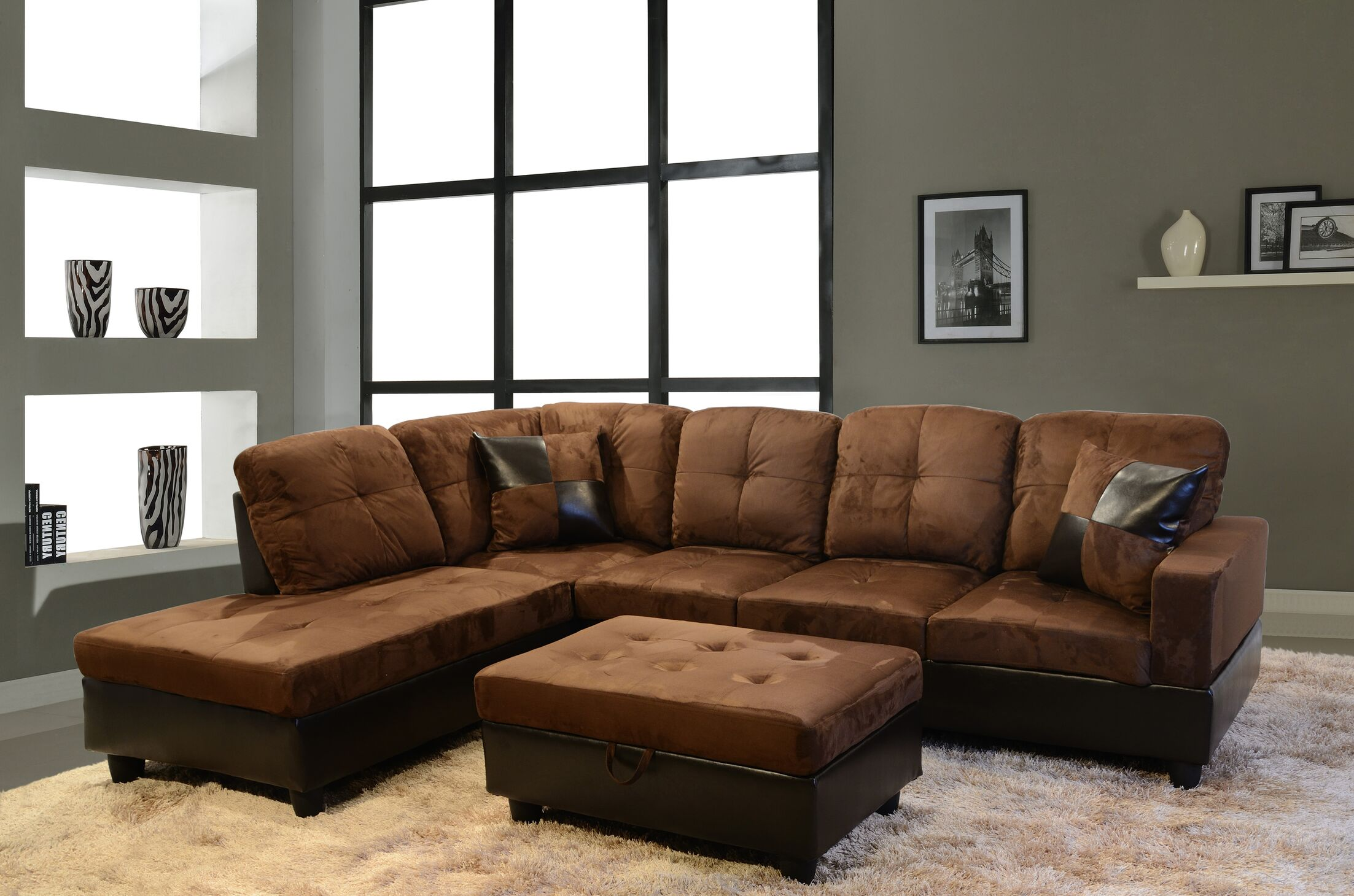 Dora Sectional with Ottoman Upholstery: Brown, Orientation: Left Hand Facing