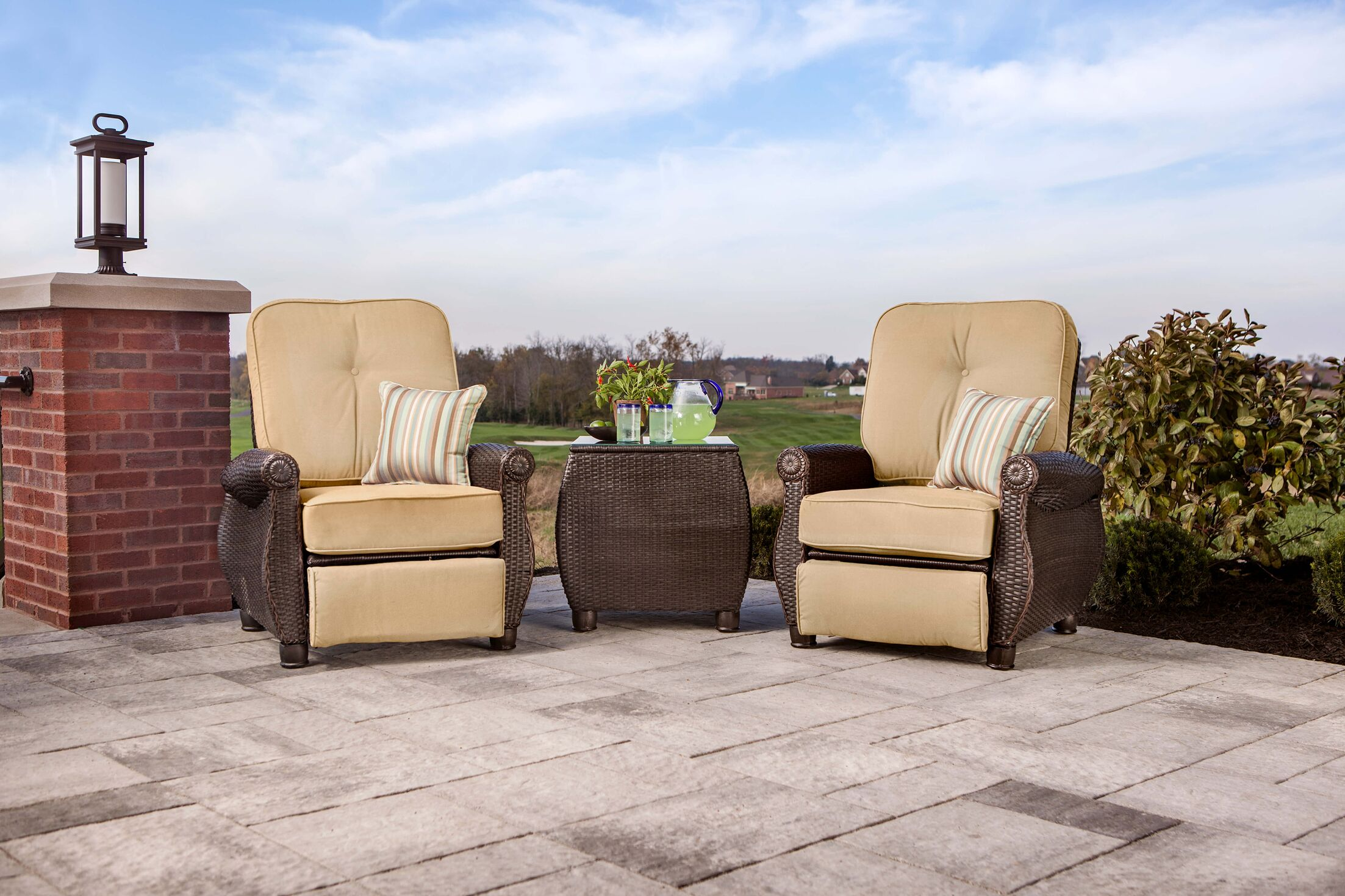Breckenridge 3 Piece Sunbrella Recliner Seating Group with Cushion