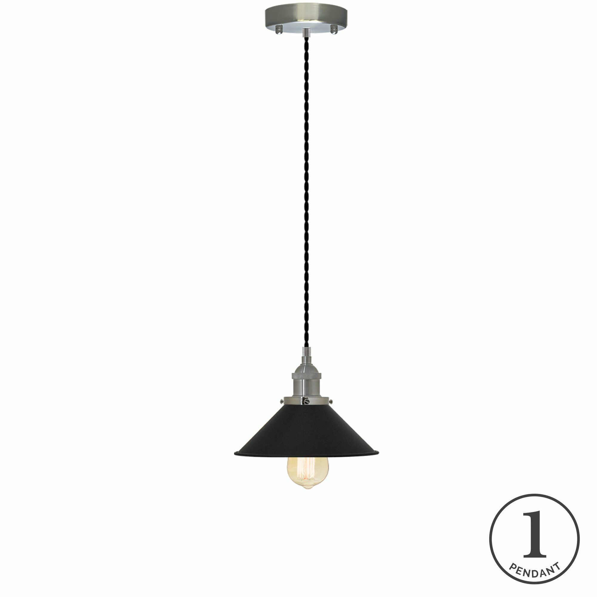Savannah 1-Light Cone Pendant Finish: Black, Shade Color: Nickel