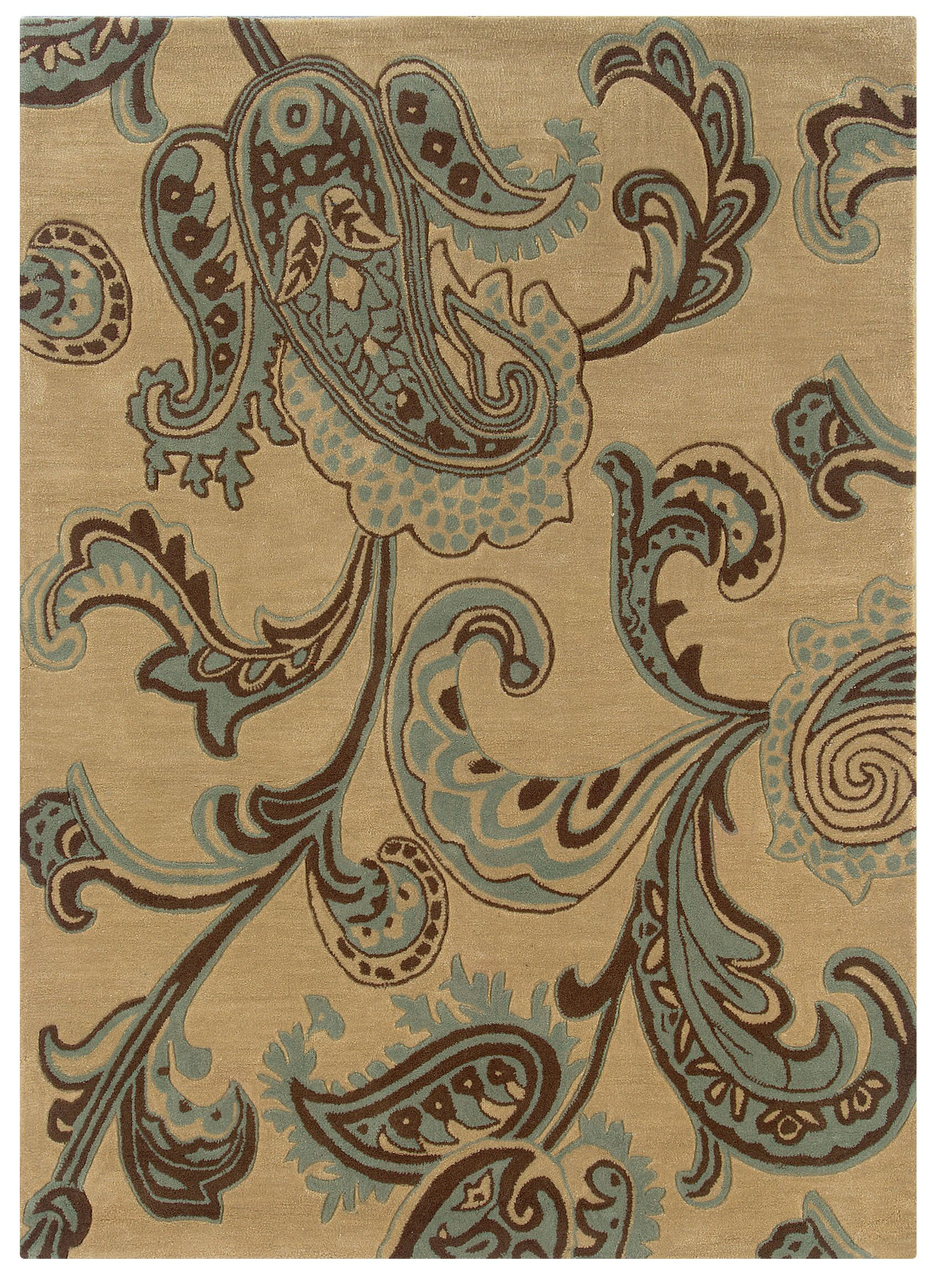 Columban Hand-Tufted Beige/Blue Area Rug Rug Size: Rectangle 8' x 10'
