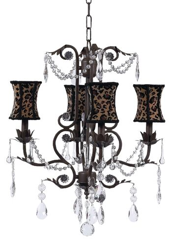 Valentino 4-Light Shaded Chandelier Finish: Mocha, Shade: Green Scallop Drum
