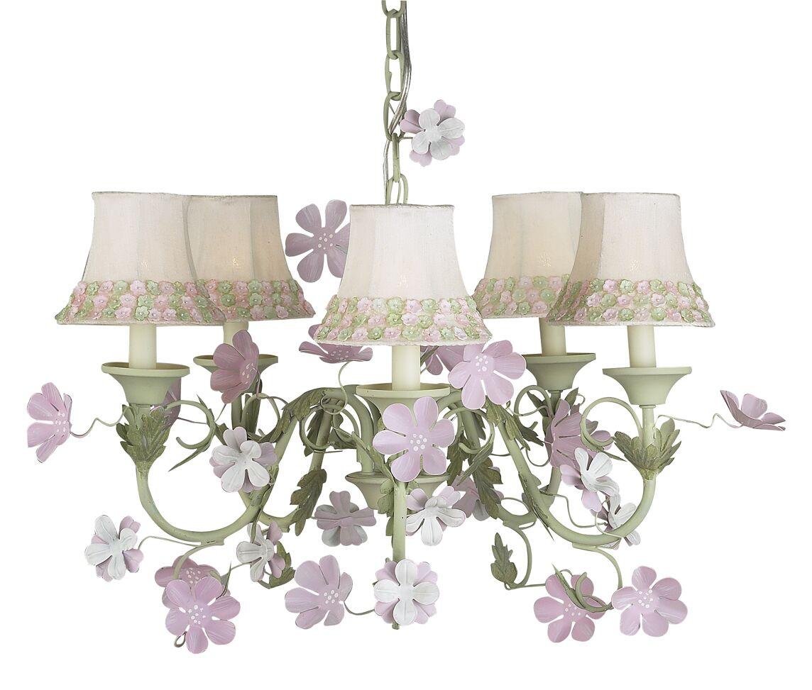 Leaf and Flower 5-Light Shaded Chandelier Shade: Pink Petal Flower