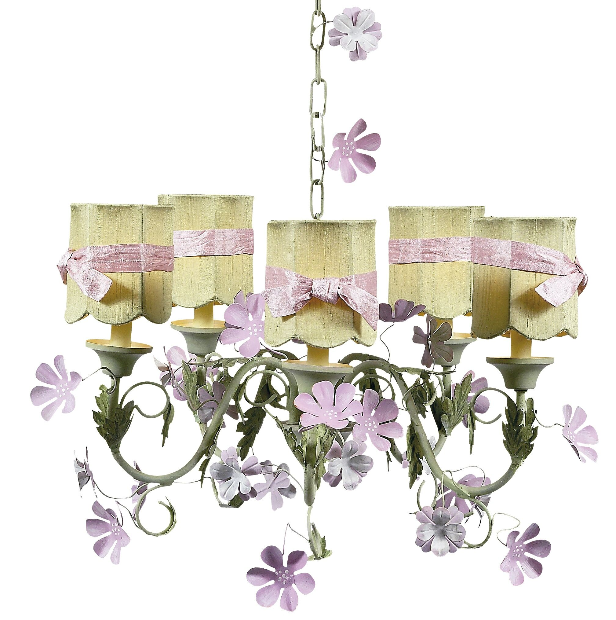 Leaf and Flower 5-Light Shaded Chandelier Shade: Green Scallop Drum