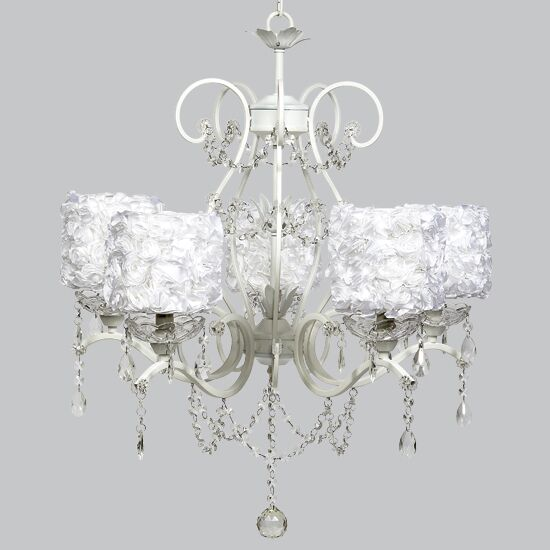 Grace 5-Light Shaded Chandelier Shade Color: White