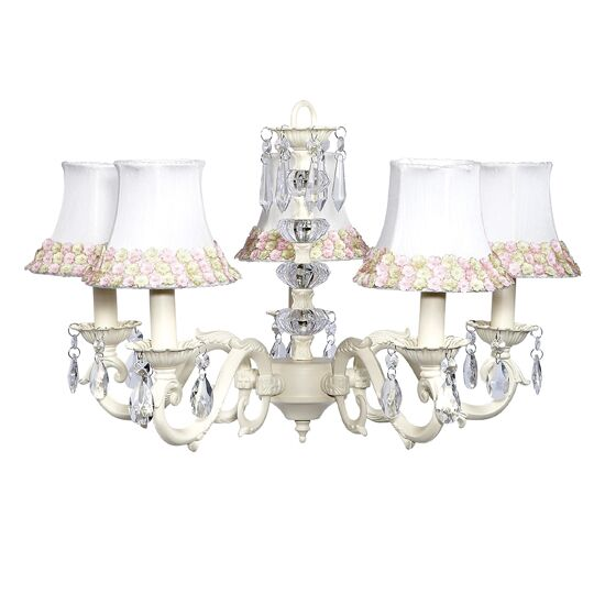Turret 5-Light Shaded Chandelier Finish: Ivory, Shade: Pink with Green Flower Border