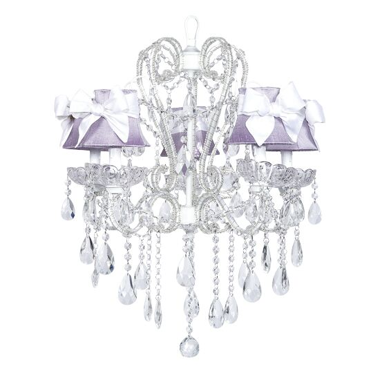 Carousel 5-Light Shaded Chandelier Shade: Lavender with White Bow, Finish: White
