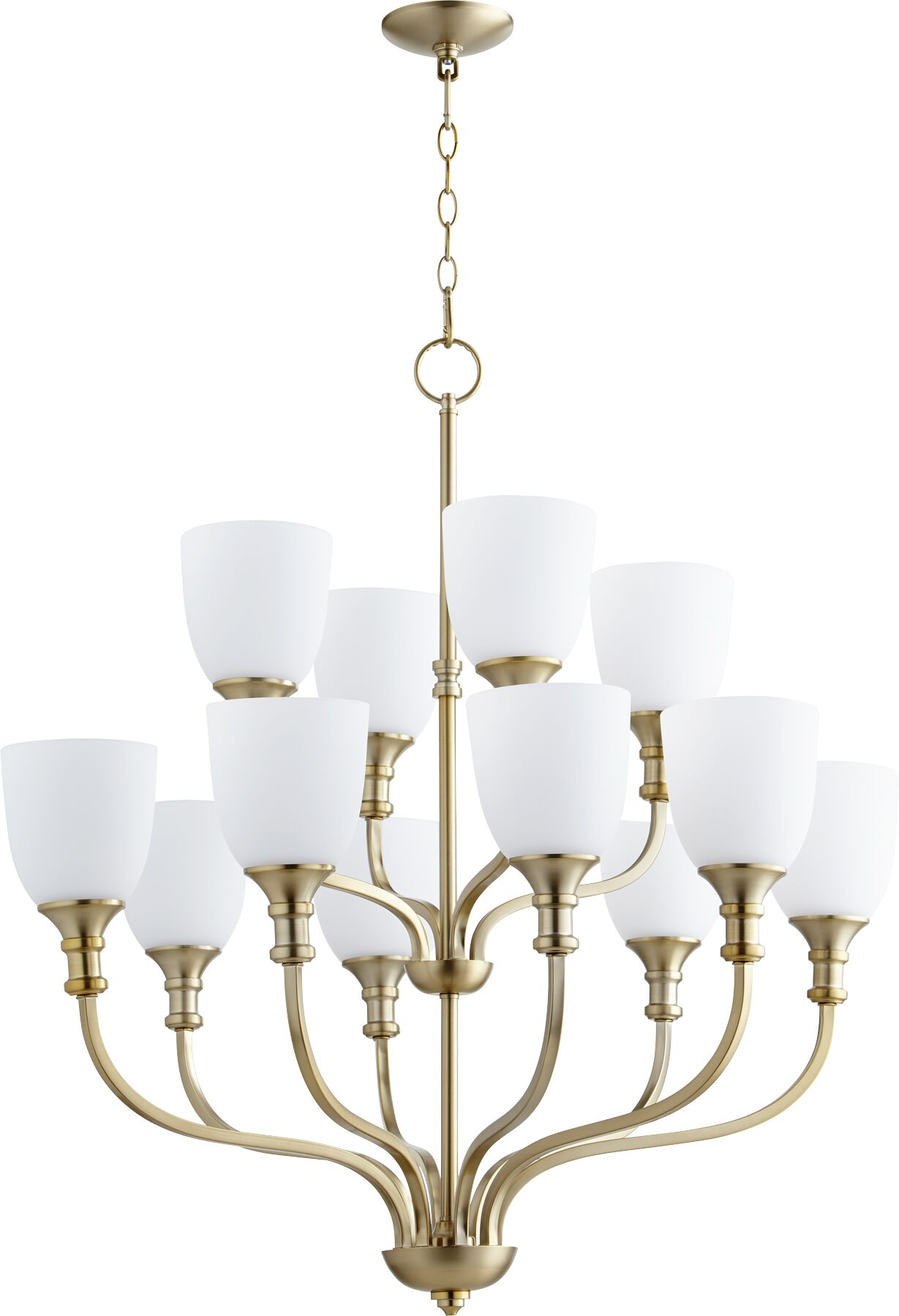 Falbo 12-Light Shaded Chandelier Finish: Satin Nickel, Shade Color: White