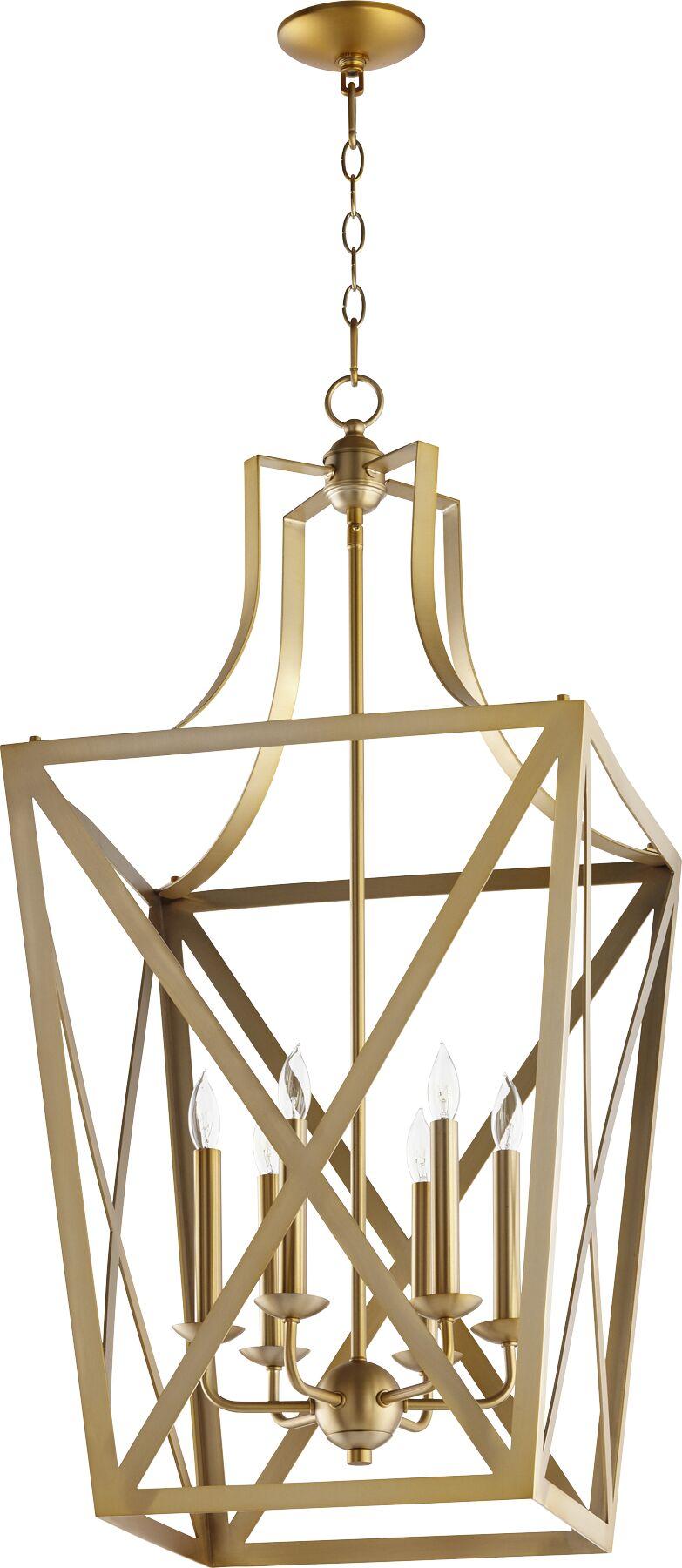 Trap Entry 6-Light Foyer Pendant Finish: Aged Brass