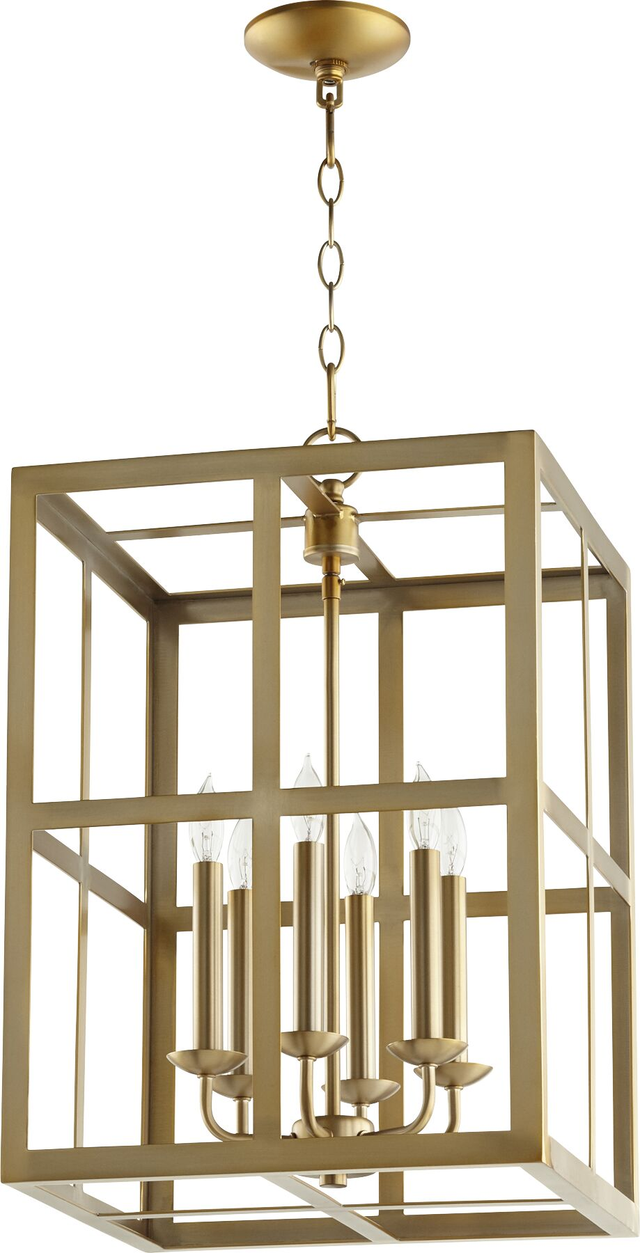 Cuboid II Entry 6-Light Square/Rectangle Chandelier Finish: Aged Brass