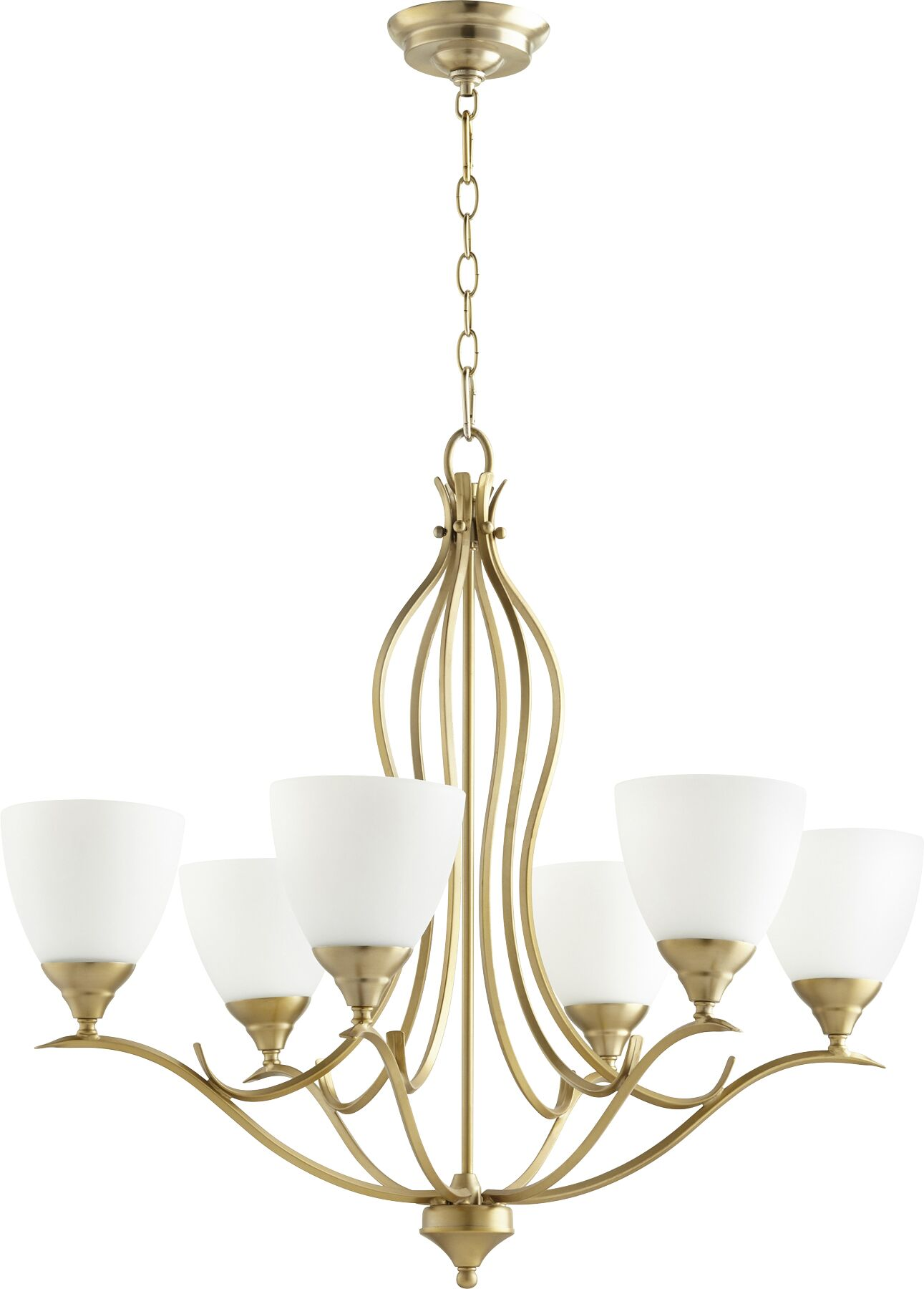 Harnois 6-Light Shaded Chandelier Finish: Aged Brass