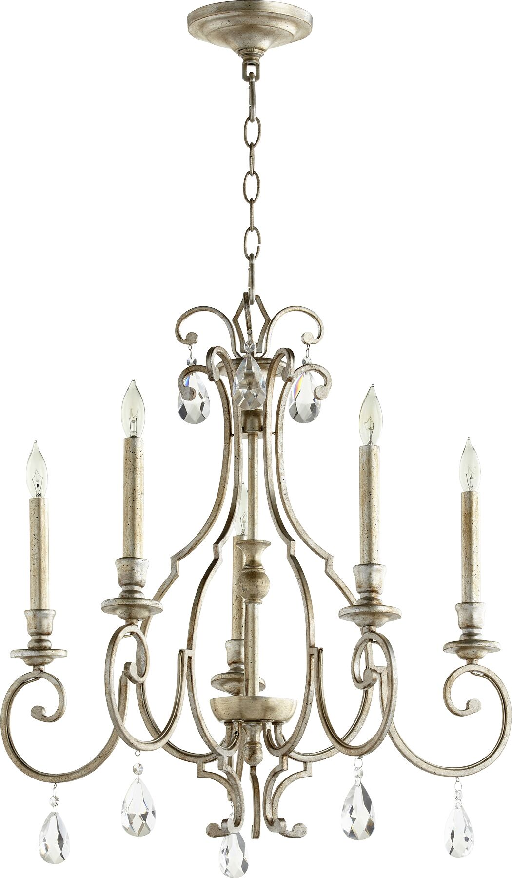Ansley 5-Light Chandelier Finish: Aged Silver Leaf