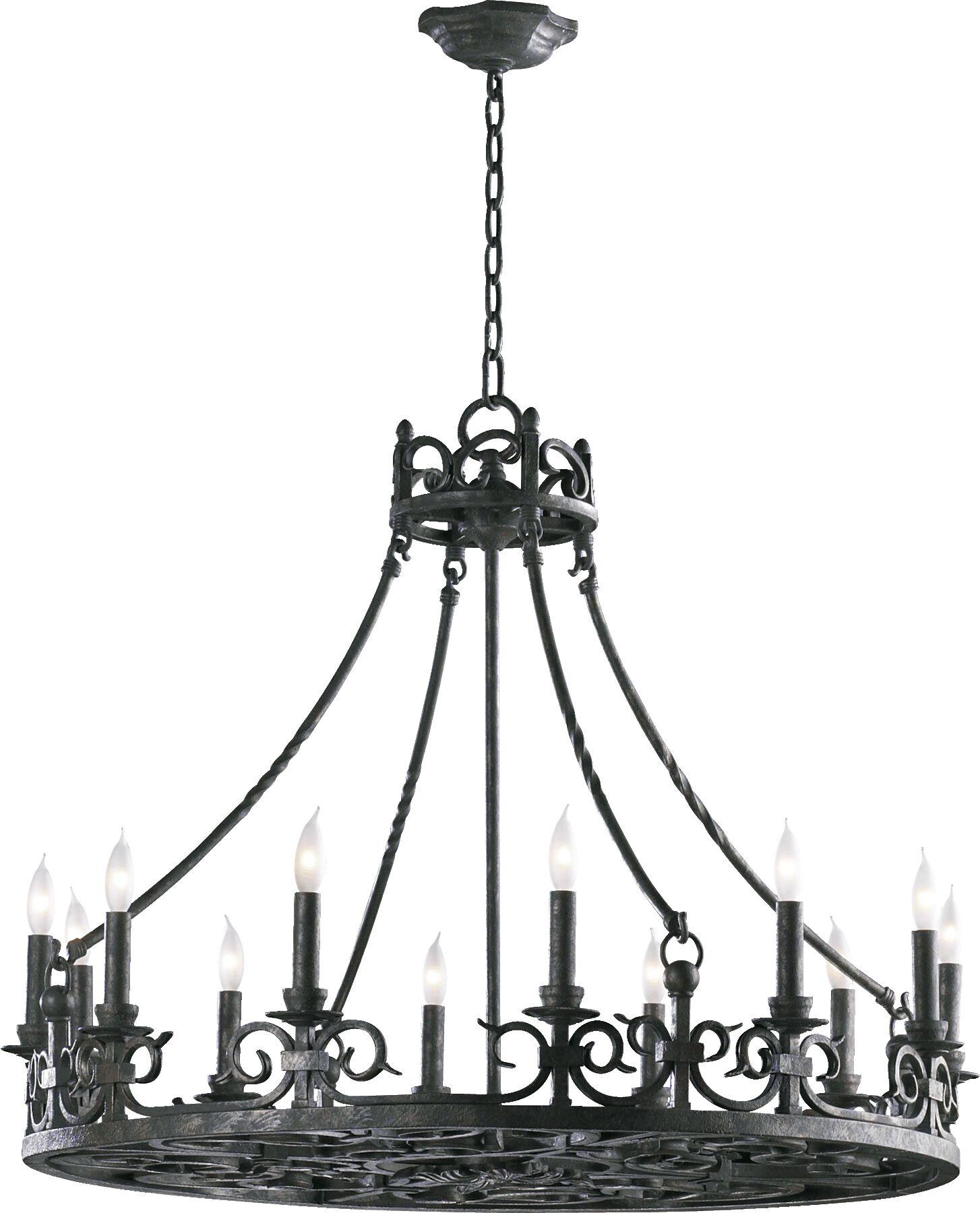 Lorenco 12-Light Wagon Wheel Chandelier