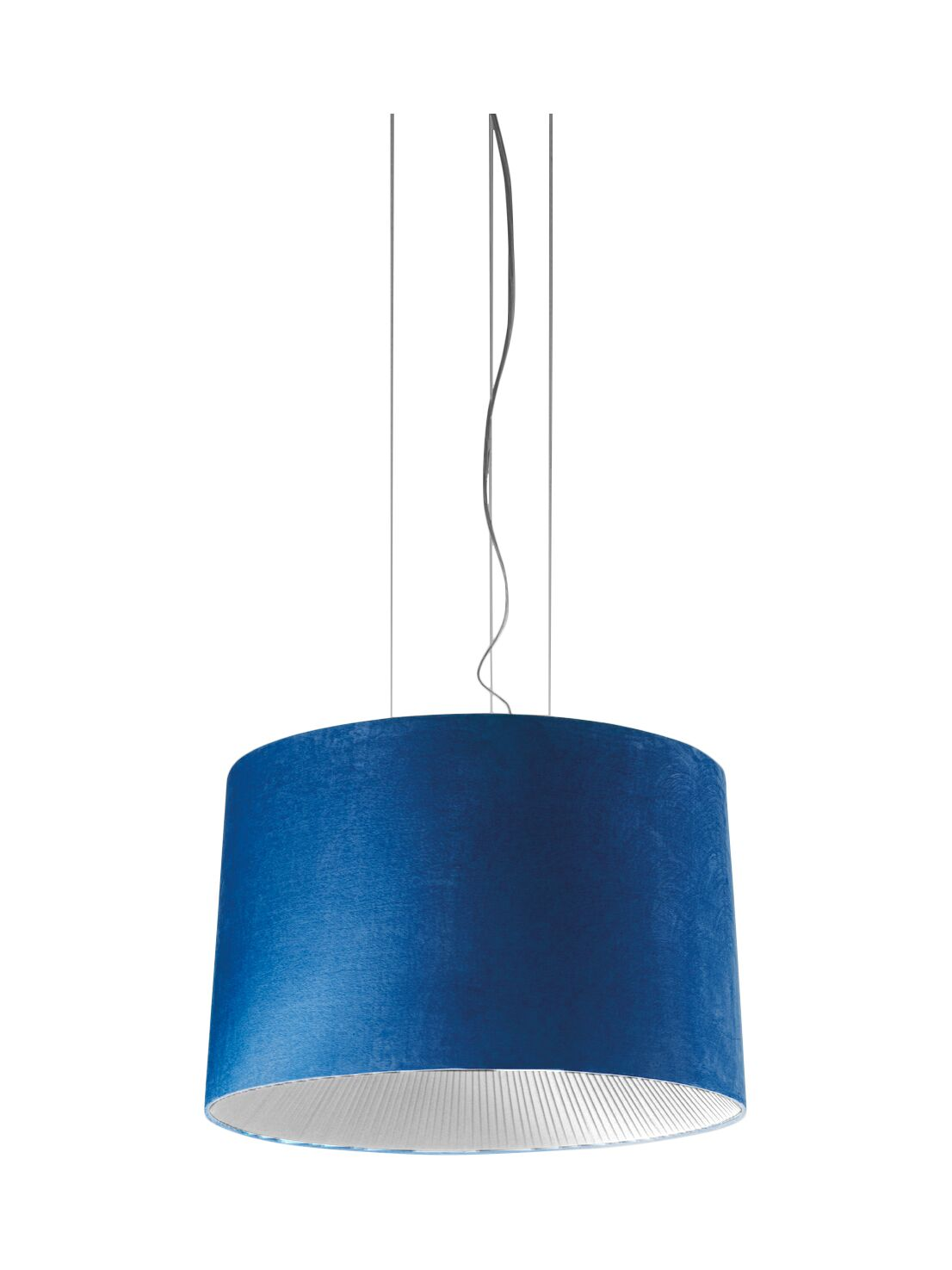 Velvet Drum Pendant (Incandescent) Color: Blue Shade with White Diffuser, Size: 129.88