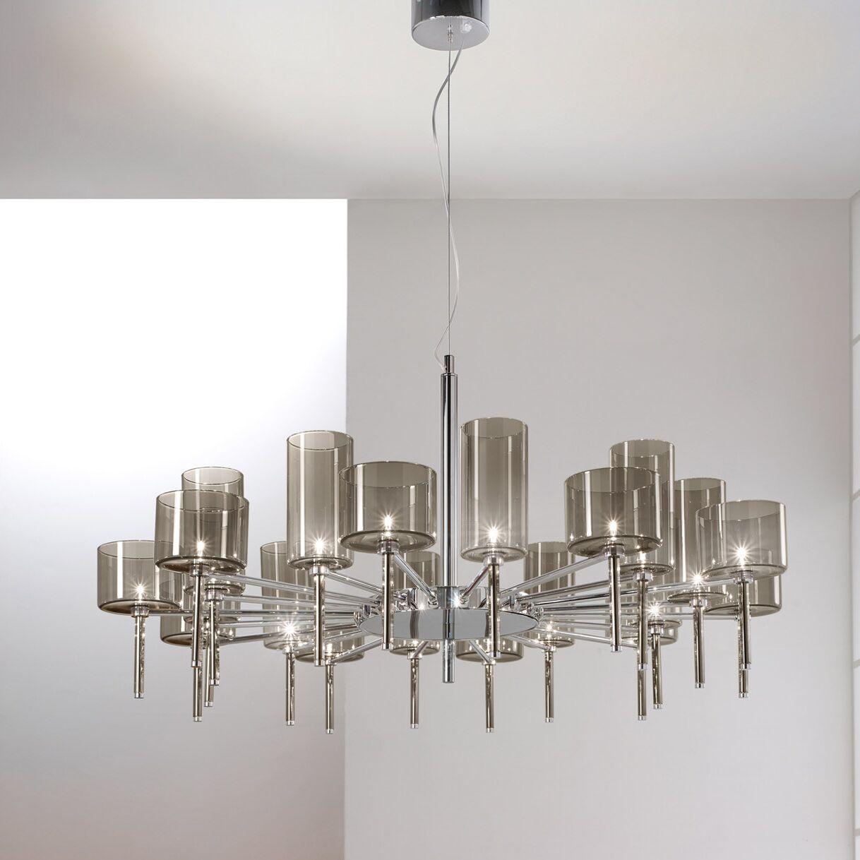Spillray 20-Light Shaded Chandelier Shade Color: Grey