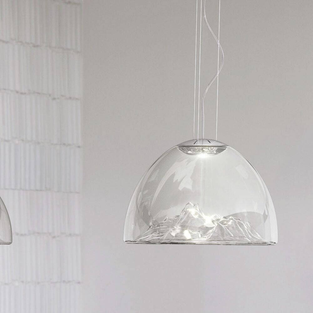 Mountain View 1-Light Bowl Pendant Base Color: Chrome, Shade Color: Crystal