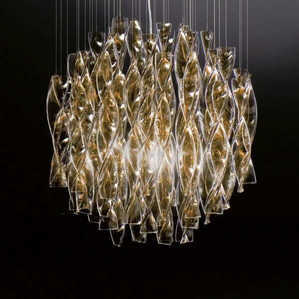 Avir 4-Light Semi Flush Mount Color: Tea Glass / Gold Leaf