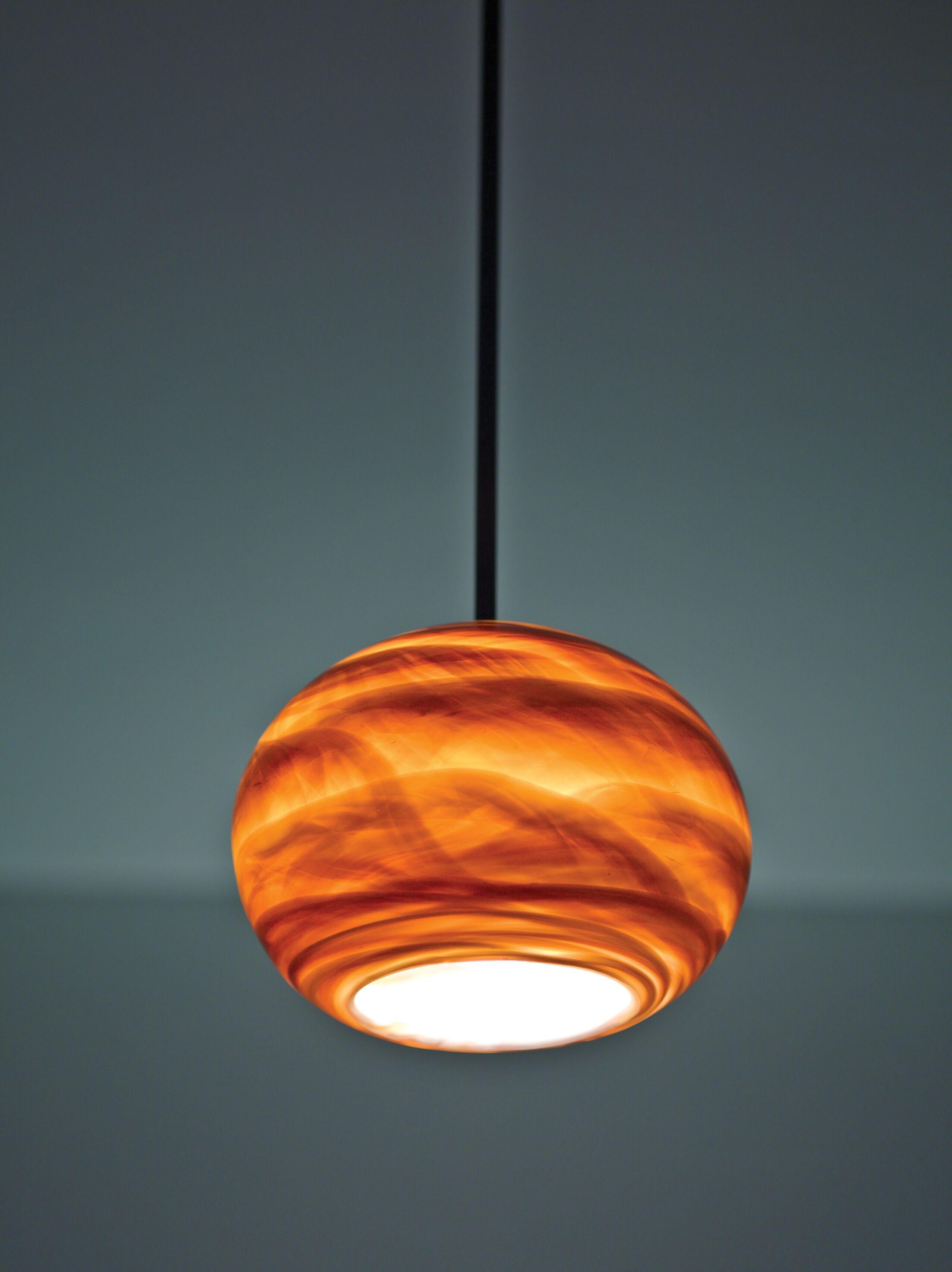 Rose 1-Light Globe Pendant Shade Color: Amber, Size: 33