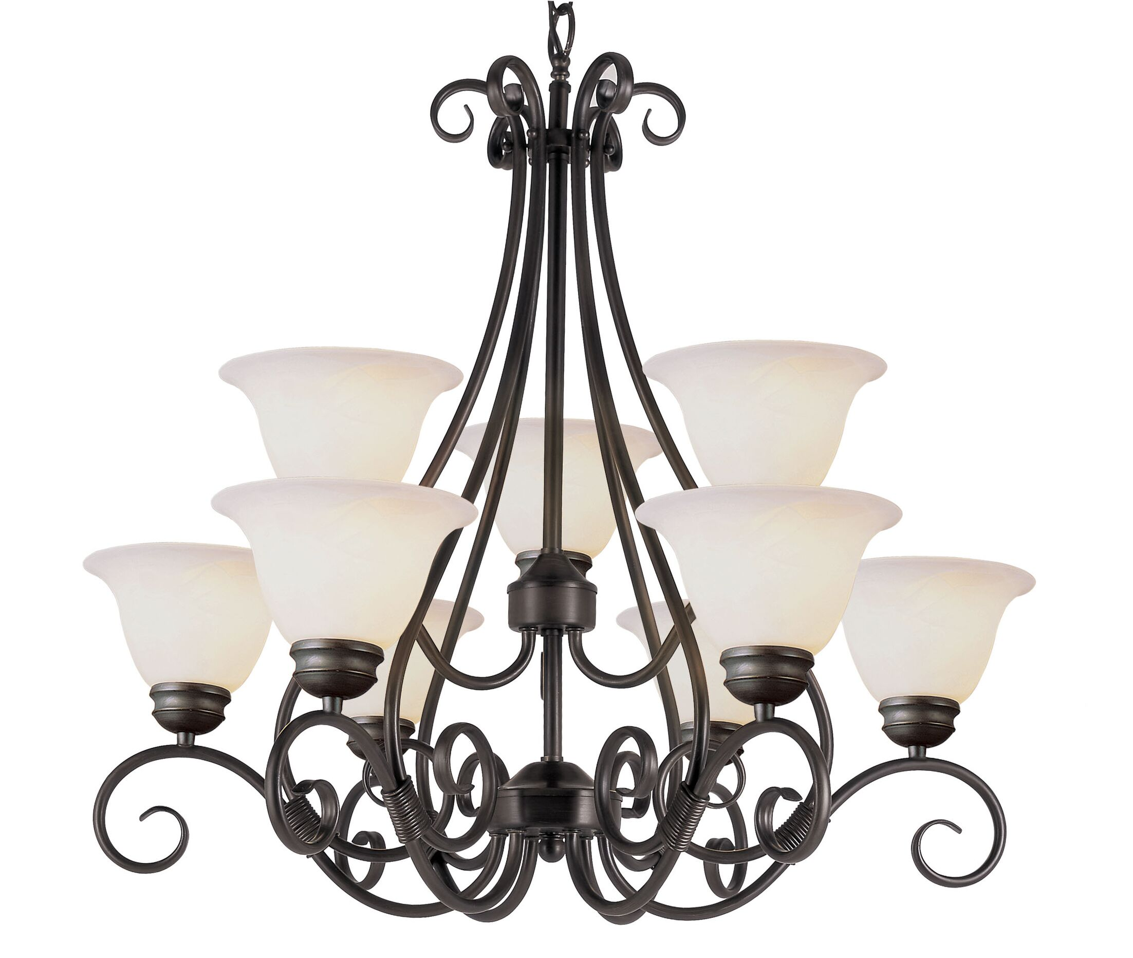 9-Light Shaded Chandelier Finish: Rubbed Oil Bronze
