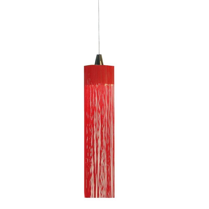 1-Light Cylinder Pendant Finish: Chrome/Red