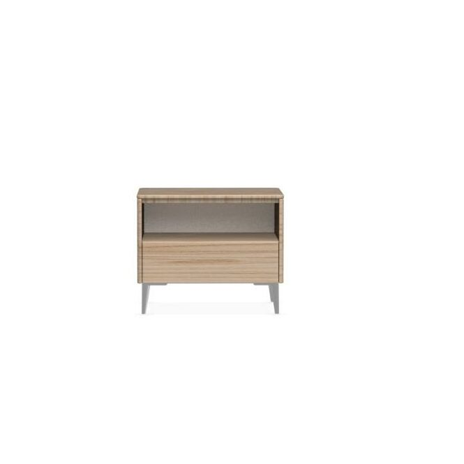 Boston 1 Drawer Nightstand Frame Color: Natural, Leg Color: Polished Aluminium