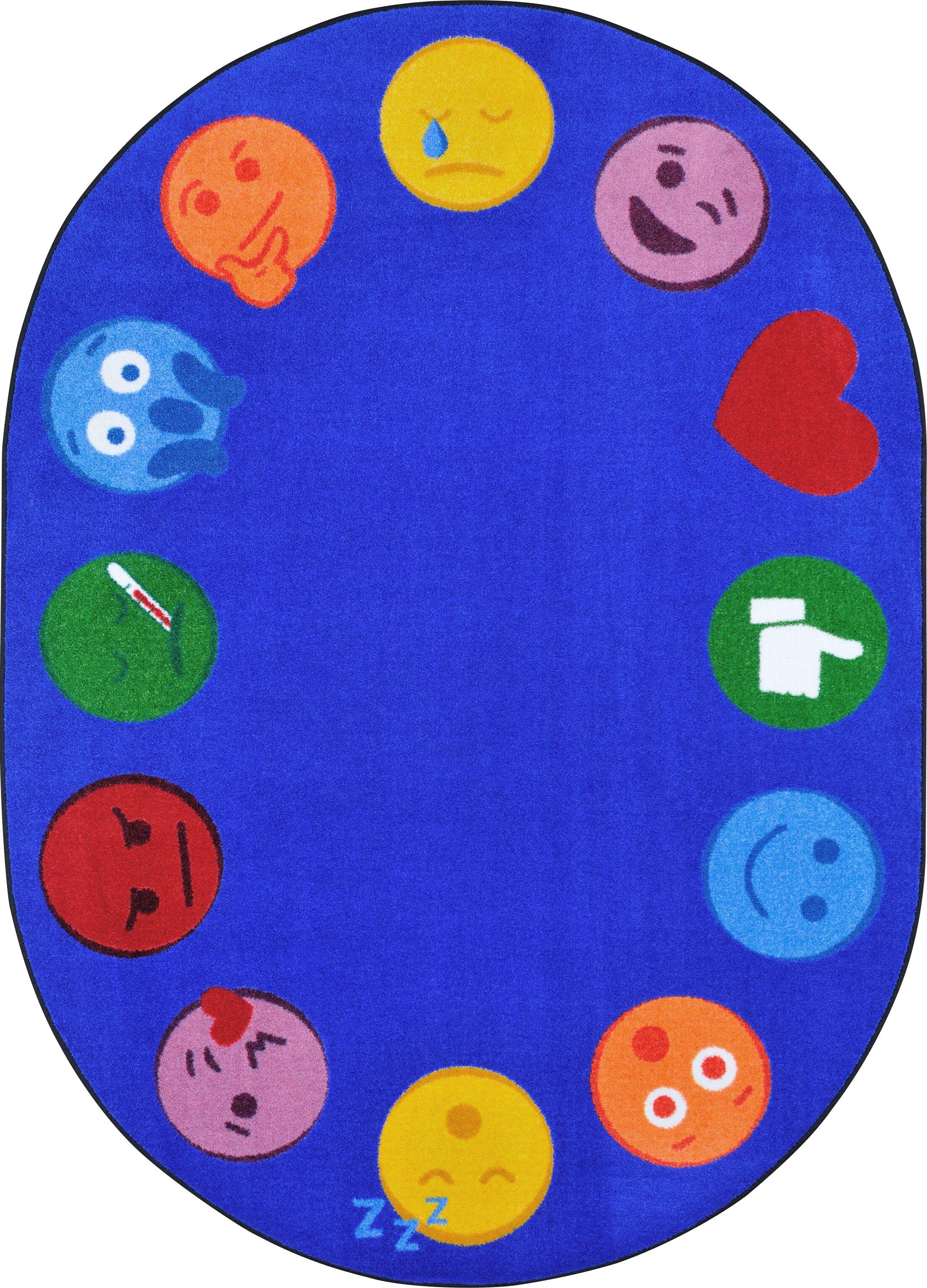 Emoji Edge Blue Area Rug Rug Size: Rectangle 5'4