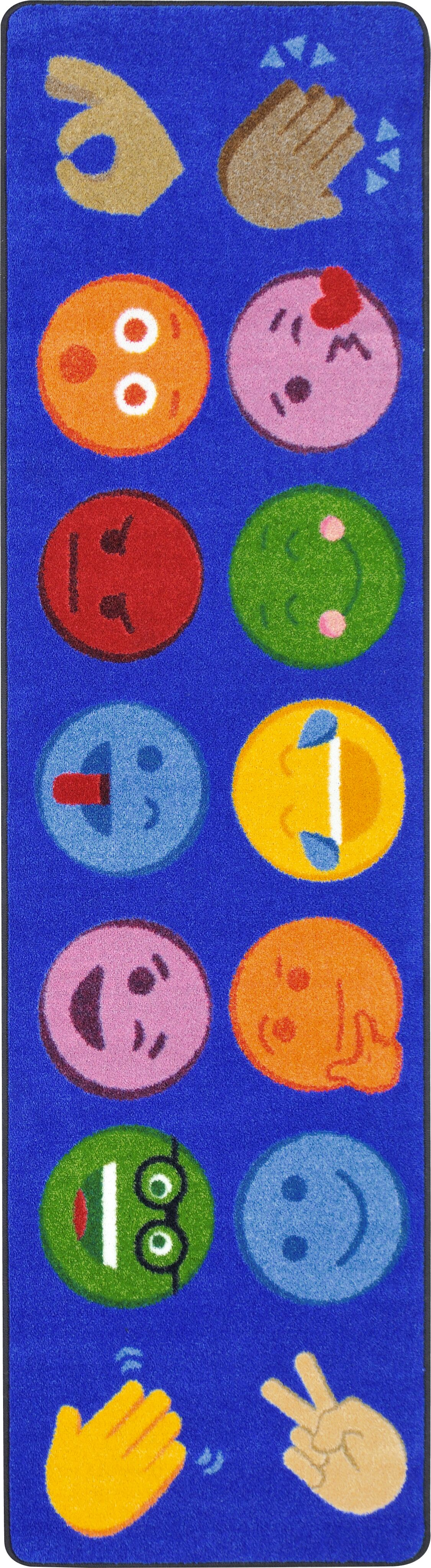 Emoji Expressions Blue Area Rug Rug Size: 7'8