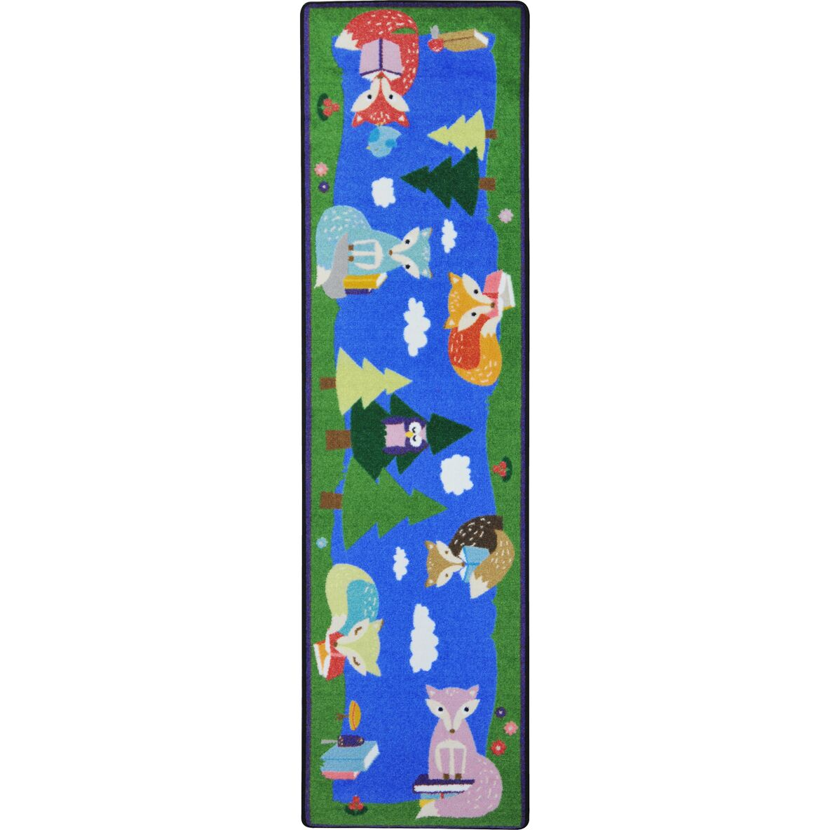 Foxy Readers Blue/Green Area Rug Rug Size: 5'4