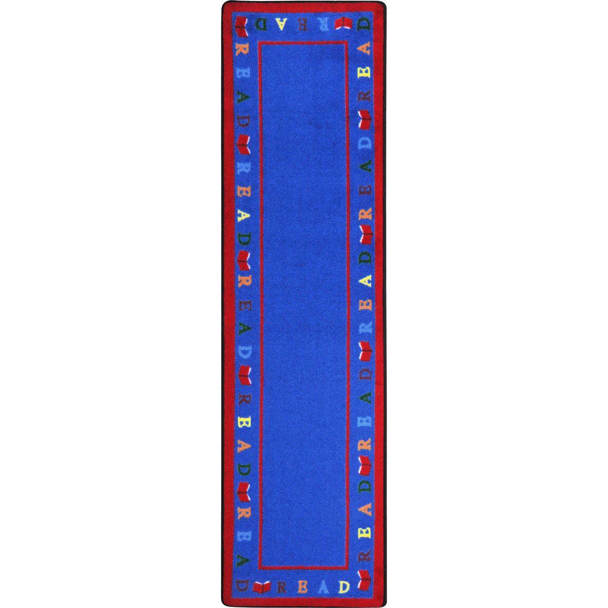 Scattered Books Blue Area Rug Rug Size: 5'4