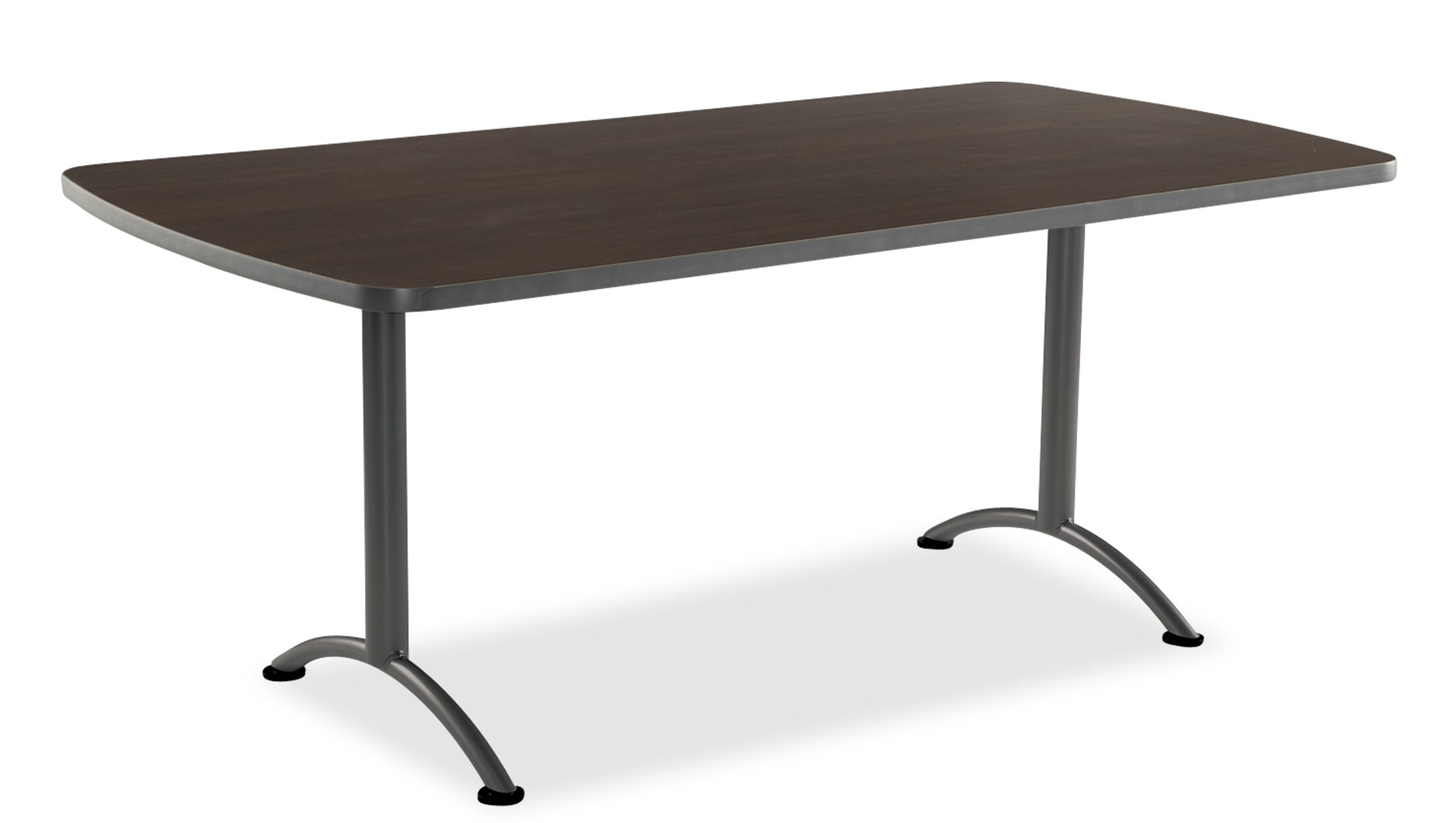 Curved End Conference Table Size: 5' L, Finish: Gray Walnut/Silver