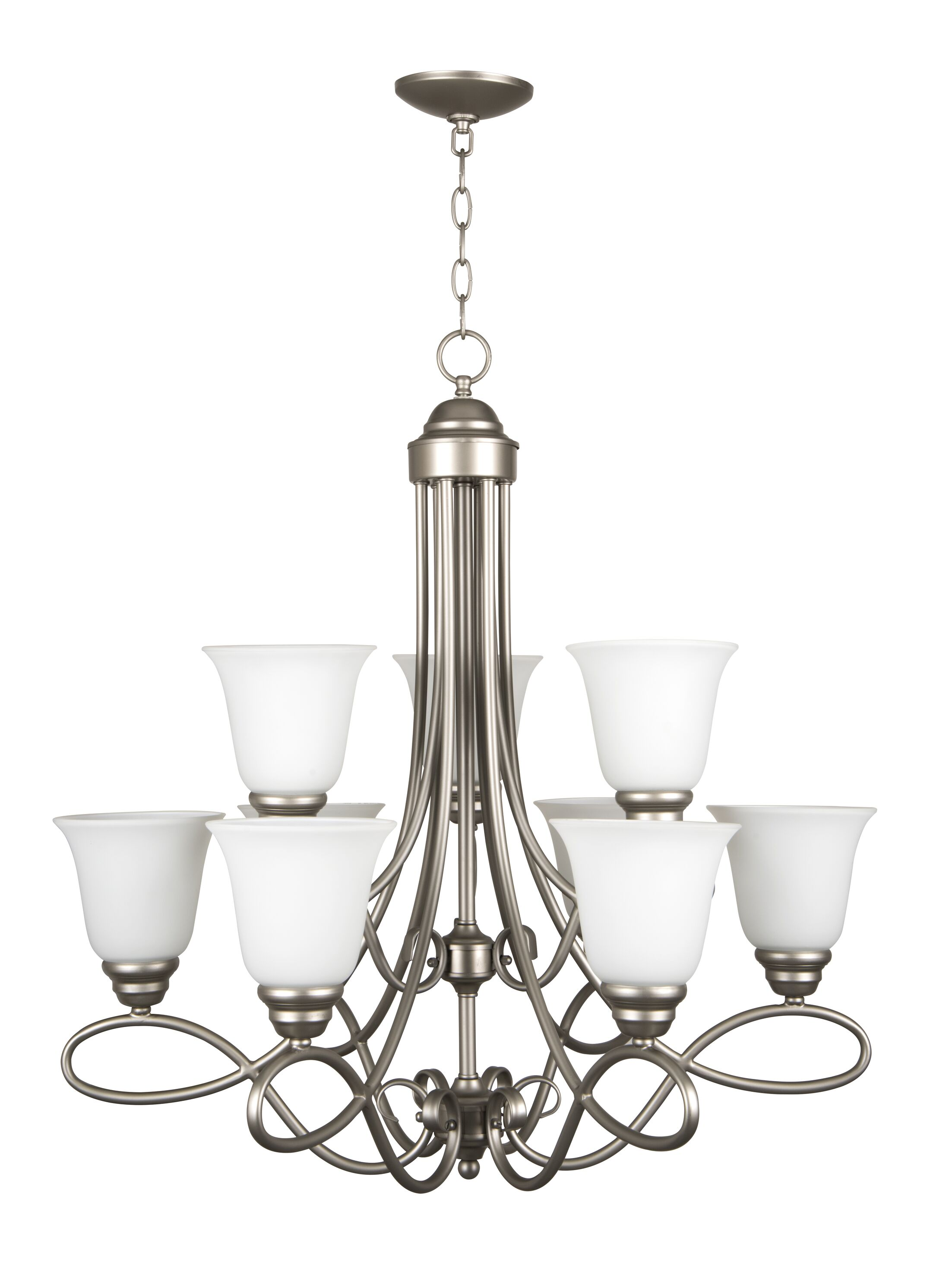 Ellis 9-Light Shaded Chandelier Finish: Satin Nickel with White Frosted Glass